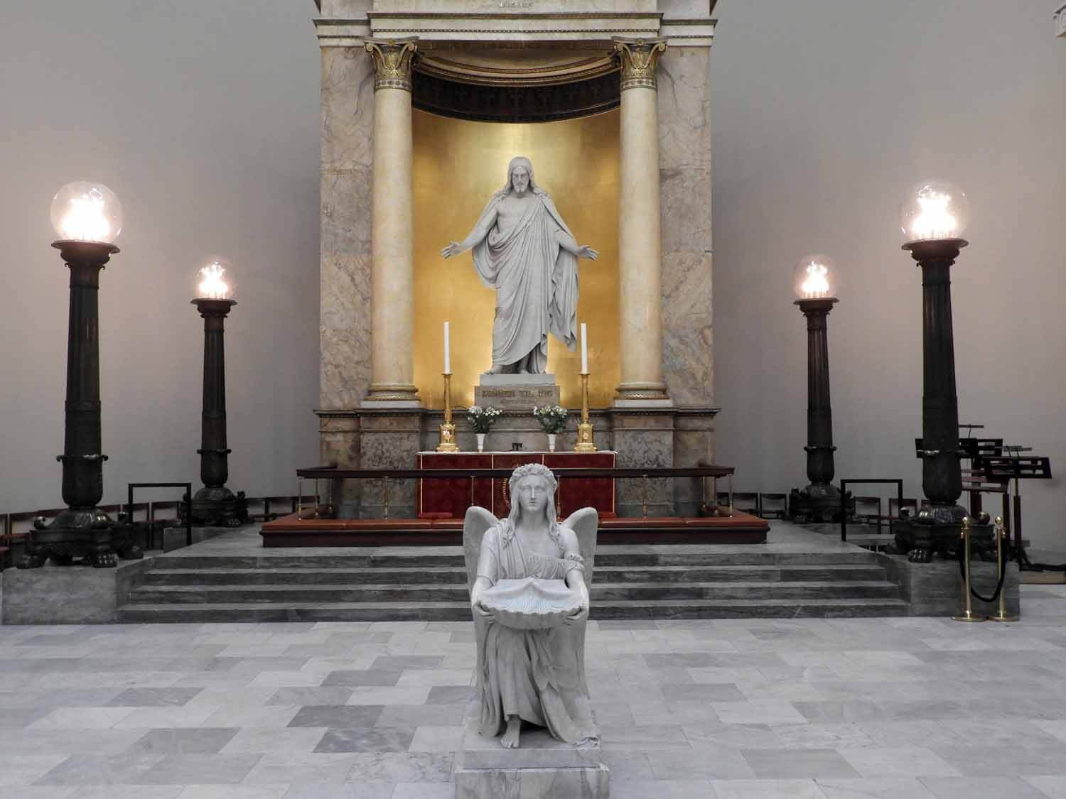 Vor Frue Kirke - Designed by one of Denmark's most notable architects, C.F. Hansen, this church serves as the National Cathedral of Denmark.  Many tourists travel to the church to behold Bertel Thorvaldsen's Christus statue and the accompanying statues of the twelve apostles