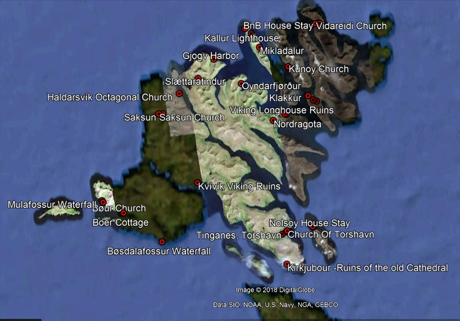 - This map shows the main locations we explored during our 7 day trip. Most locations are were reachable by car.We used the car ferry to take our car to the island of Kalsoy, and also ditched our car for a night while taking the ferry to the Island of Nolsoy.