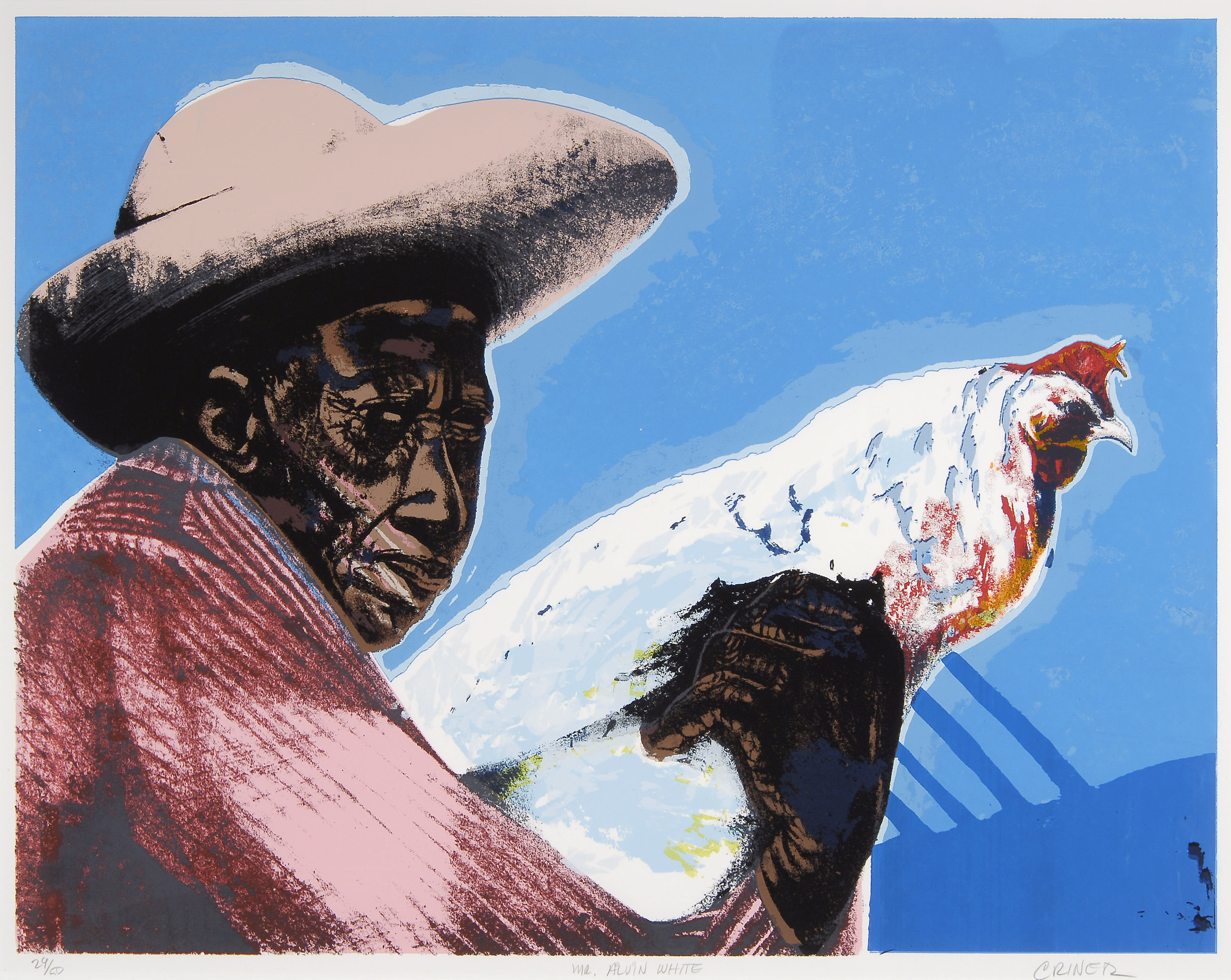 CHARLES CRINER (born 1945)  Mr. Alvin White (Man with Chicken)  1998 Color screen print Edition no. 29/50 17-3/4 x 22-1/2 inches Courtesy of The Kelley Collection