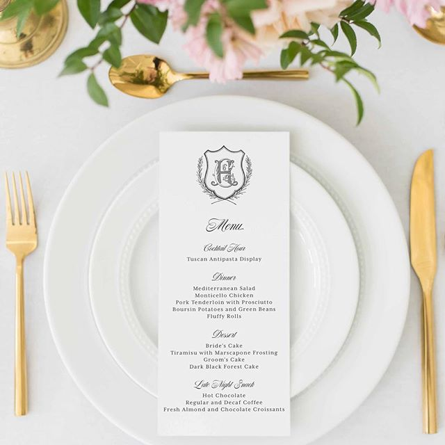 Custom wedding crests to brand your entire wedding...yes, please!