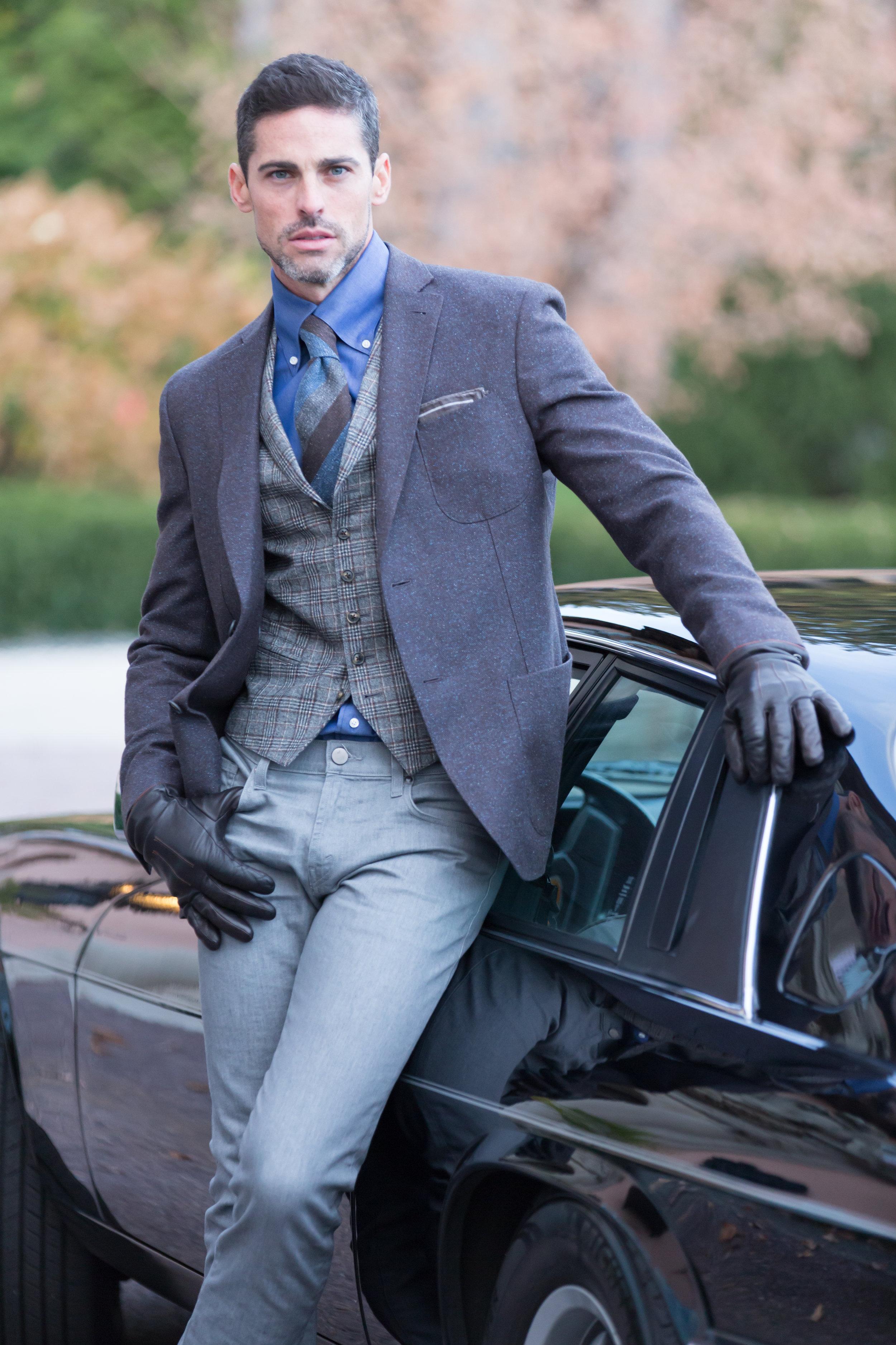 Daniel George custom blazer and plaid vest
