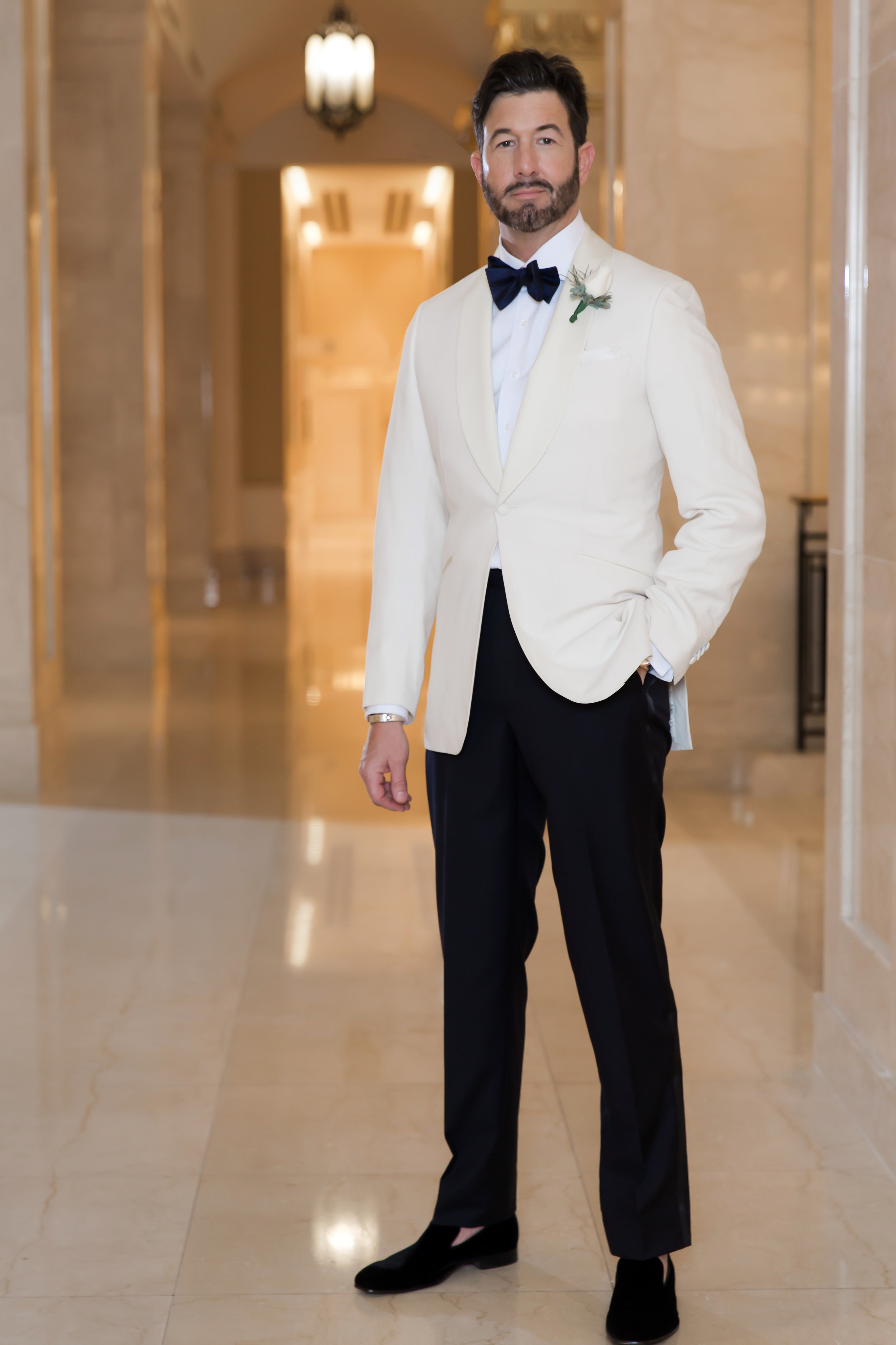 Daniel George custom white dinner jacket