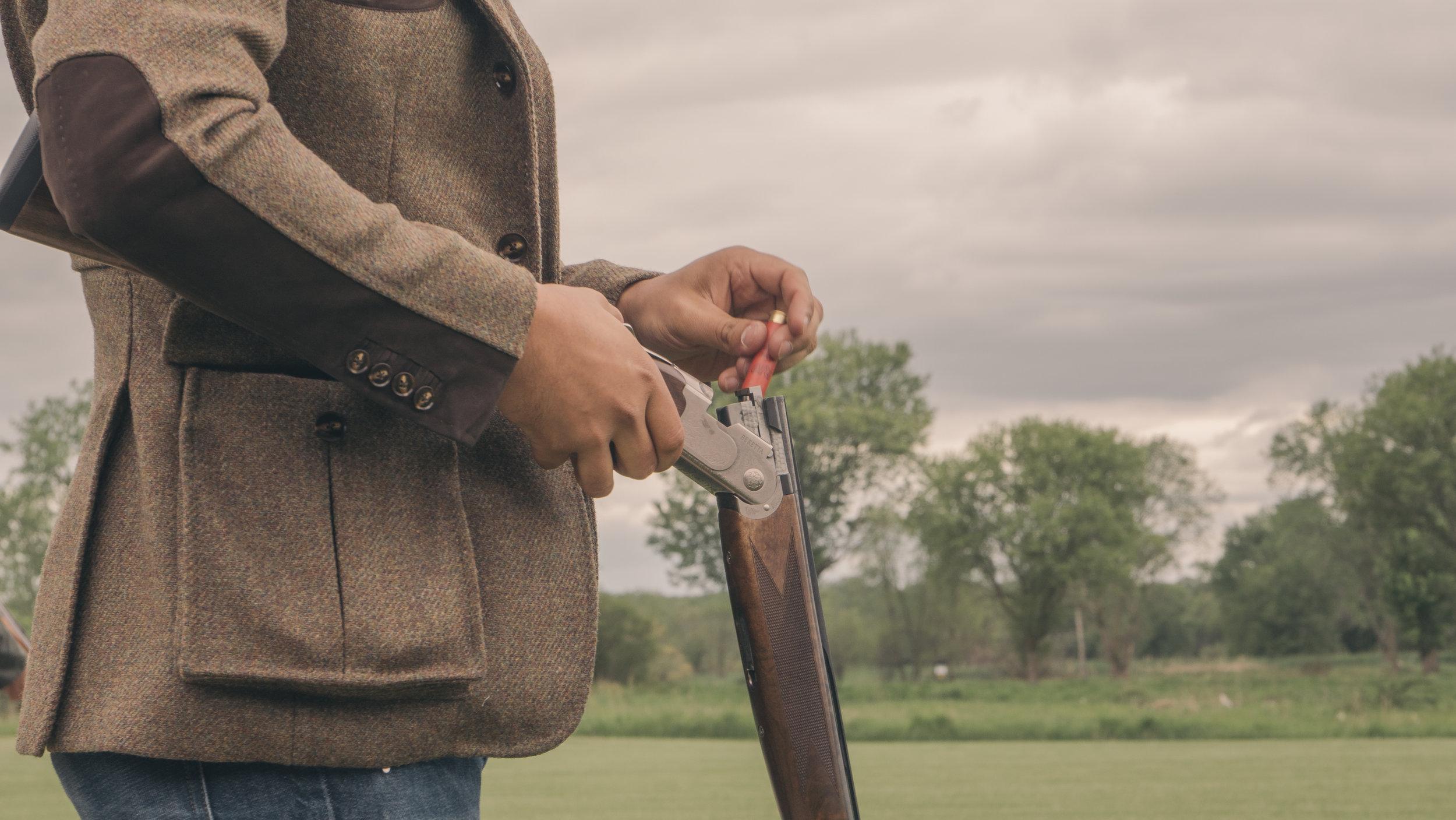 bespoke shooting jacket suede leather details