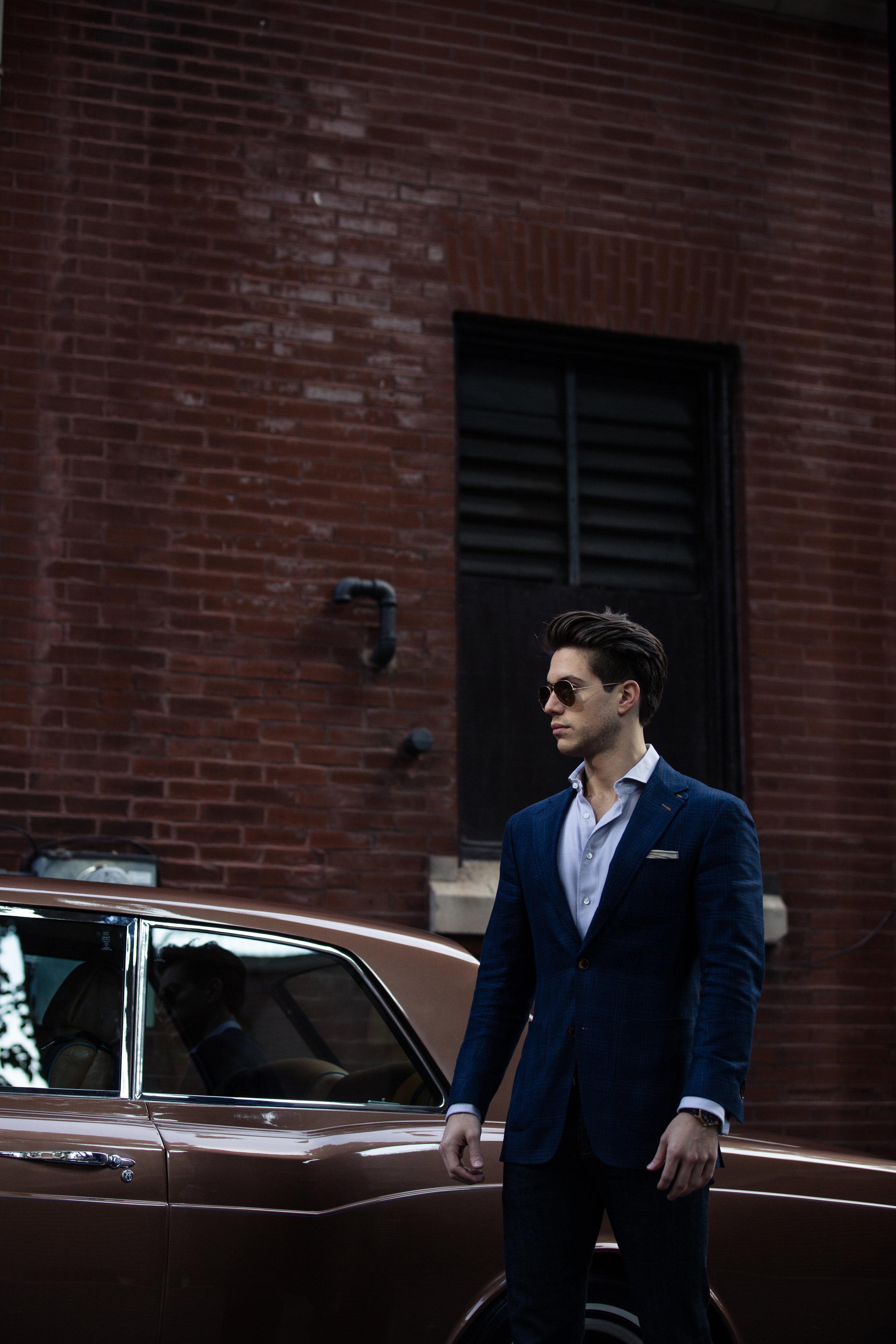 custom blue plaid sport coat