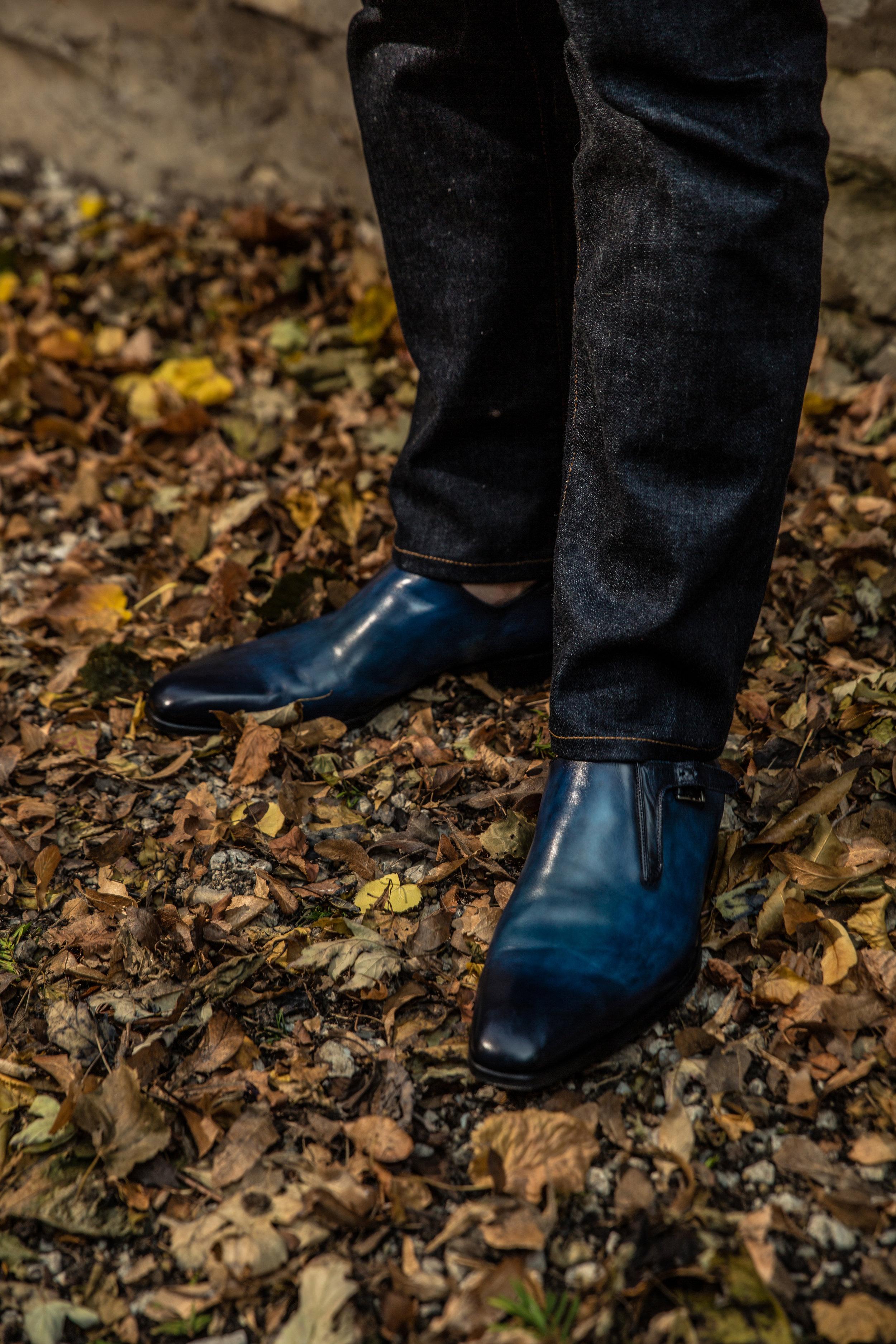 Daniel George Italian blue leather double monk strap