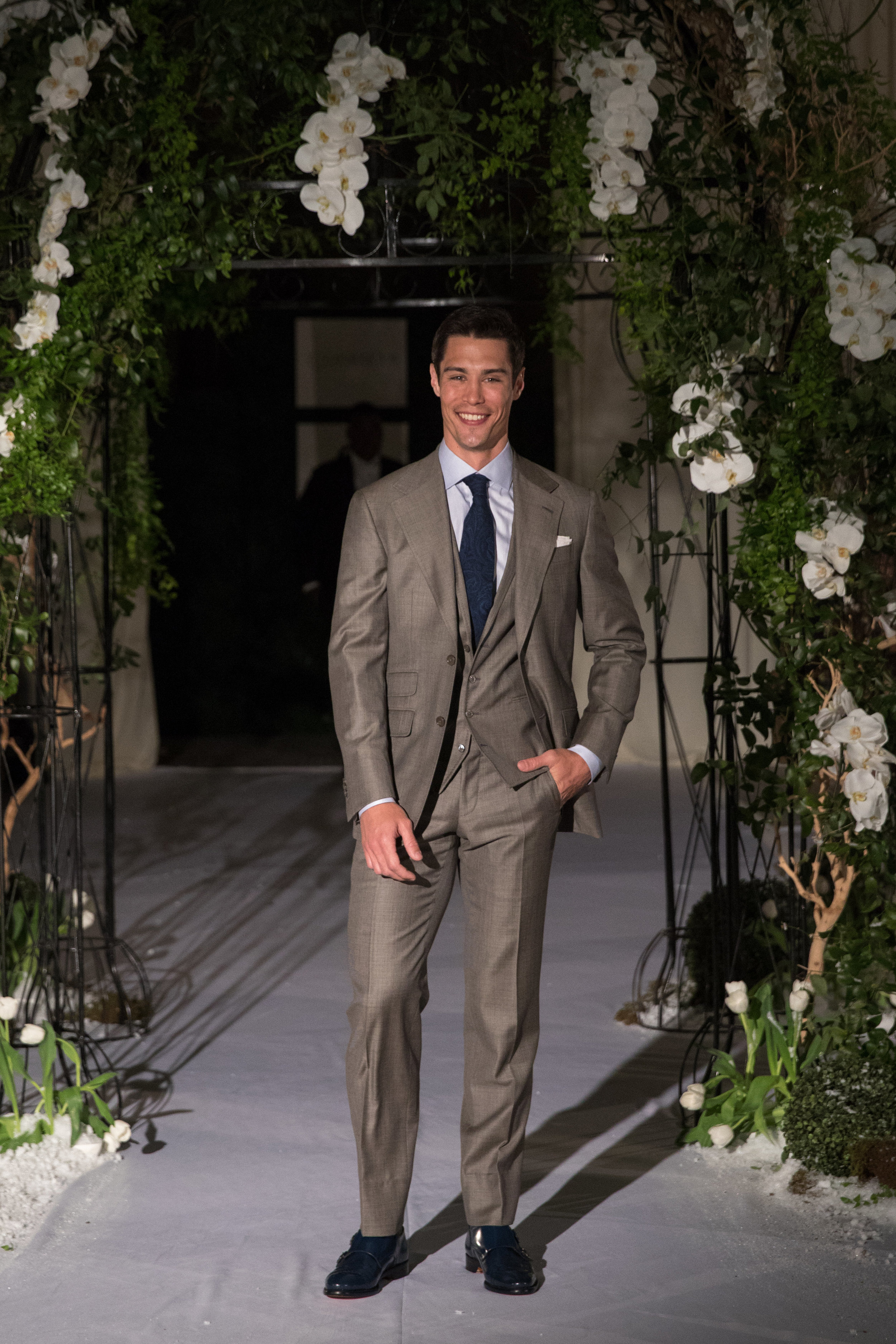 custom taupe 3 piece wedding suit
