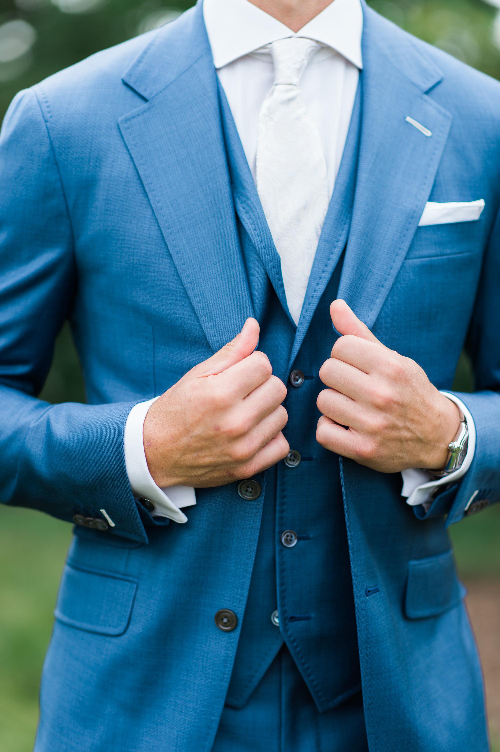 custom blue wedding suit chicago