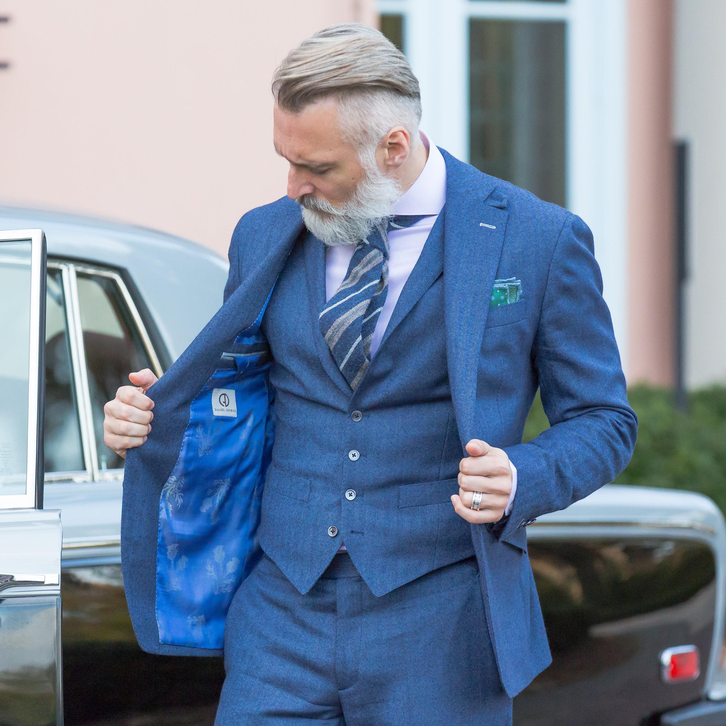 custom blue flannel 3 piece suit