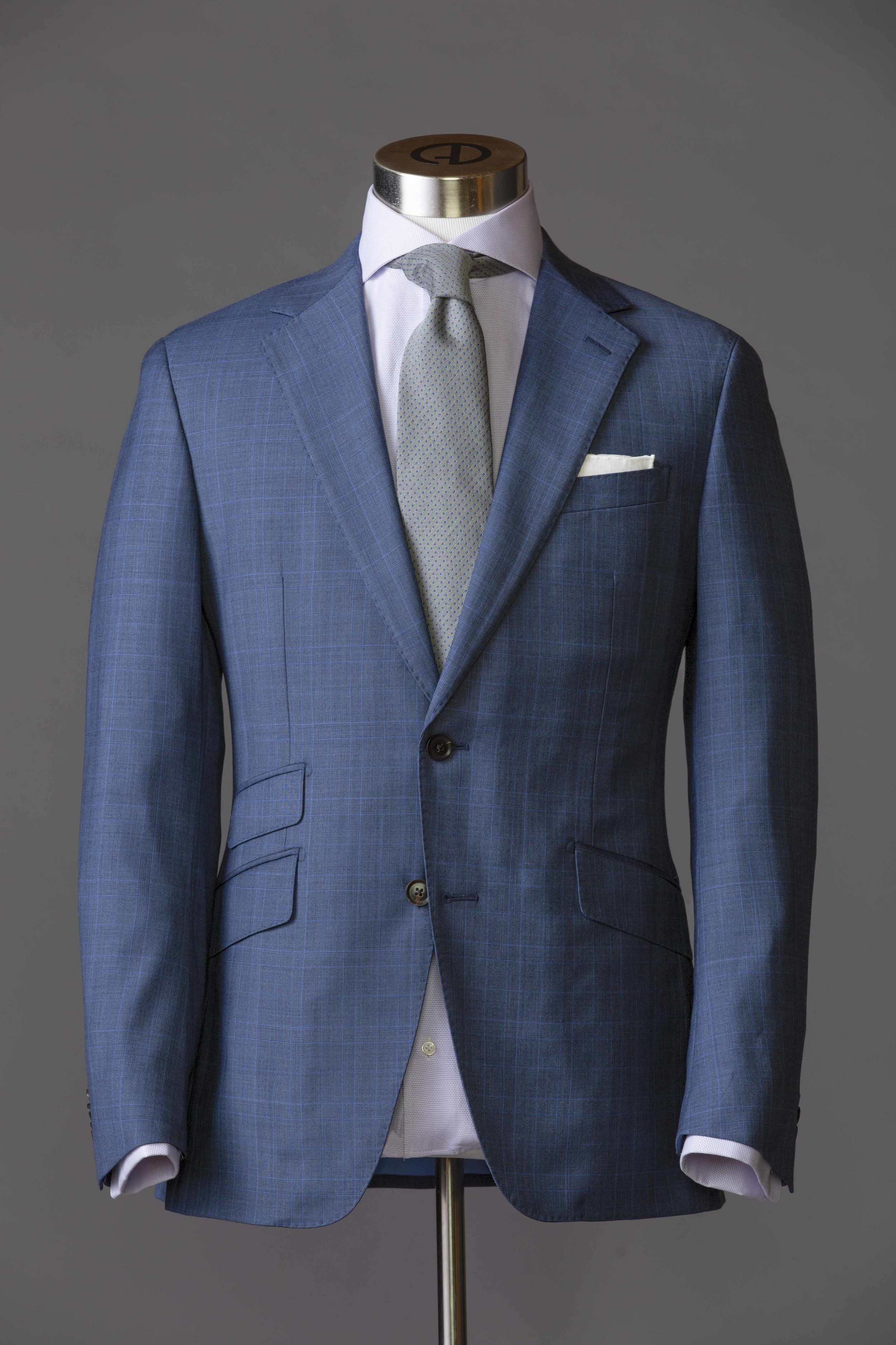 Very Fine Italian Pure Wool Suiting Brown with Subtle Blue Plaid