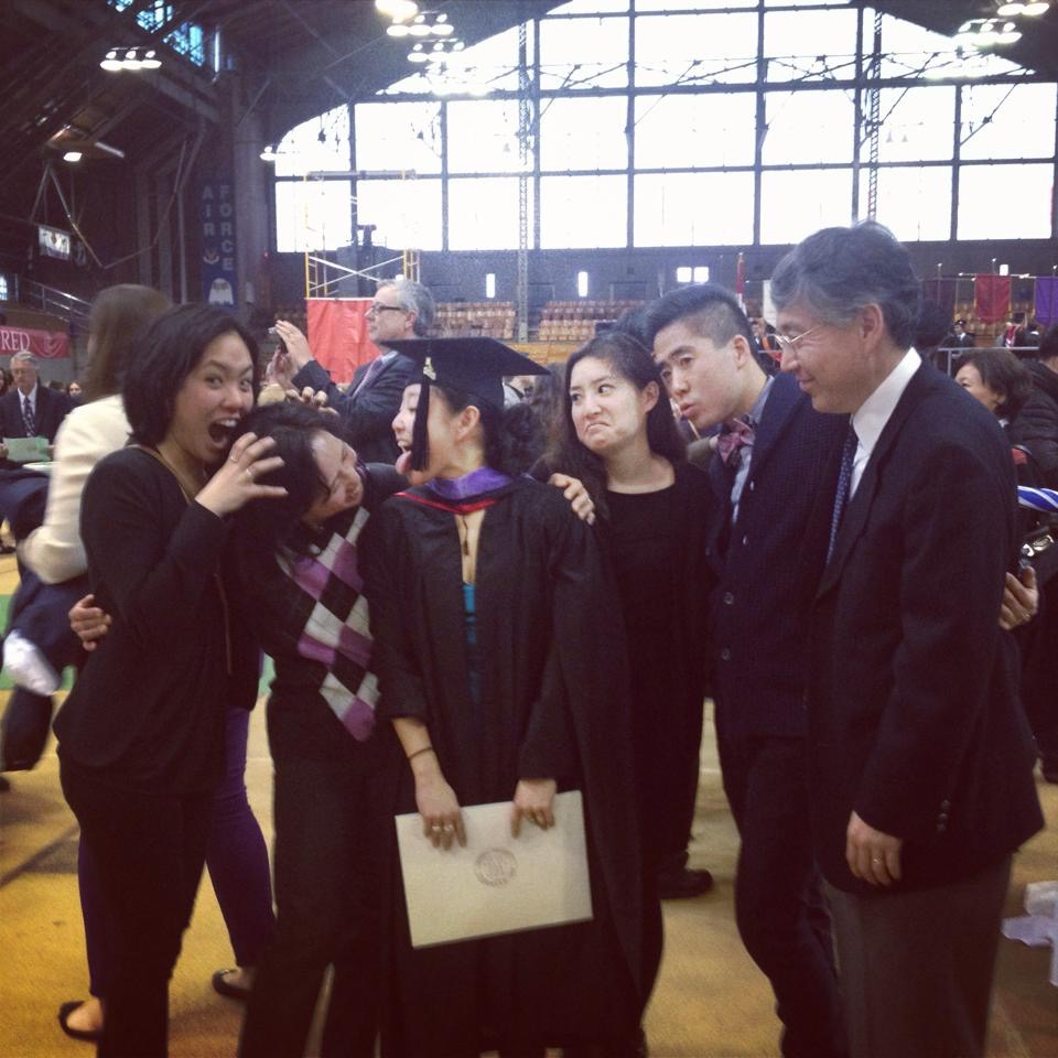 Jin with her family at her M.Arch Graduation Ceremony.