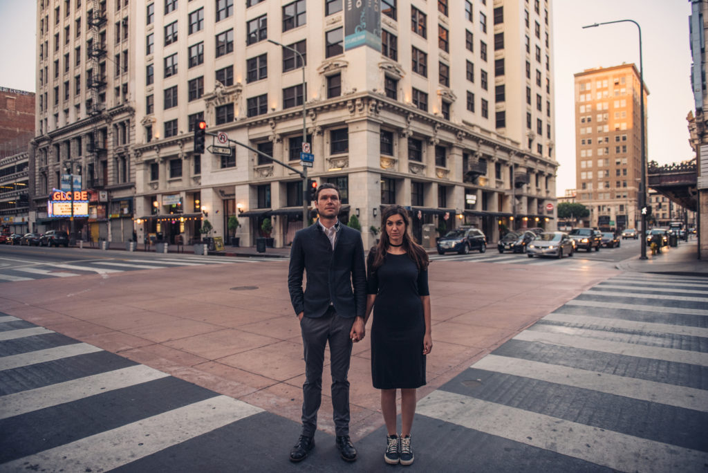 Aaron with her husband Stephen in Downtown LA. Photo by Formwork Photography