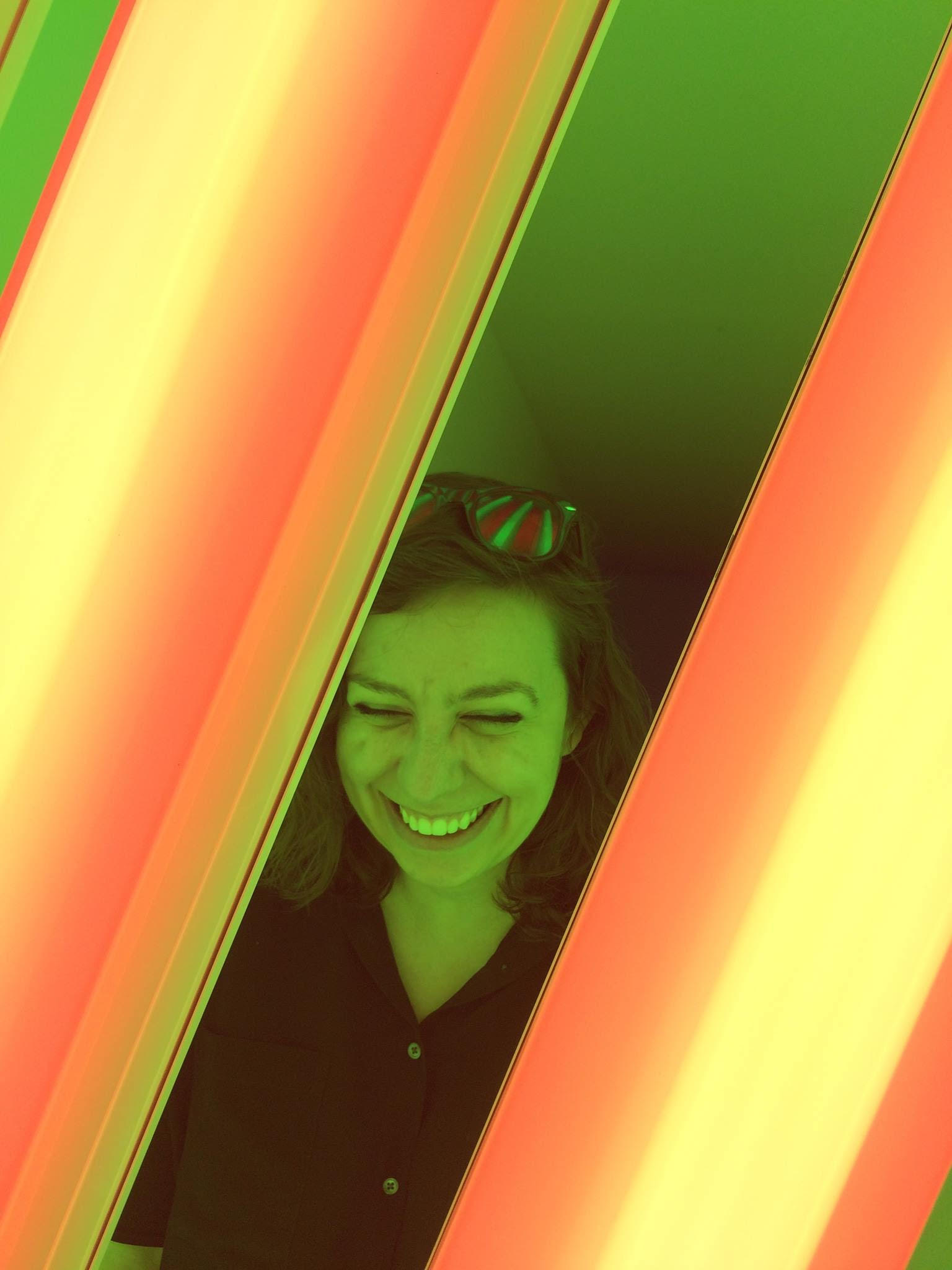 Ashley with the Dan Flavin installation at the Chianti Foundation, Marfa, TX. photo by Laura Weeks