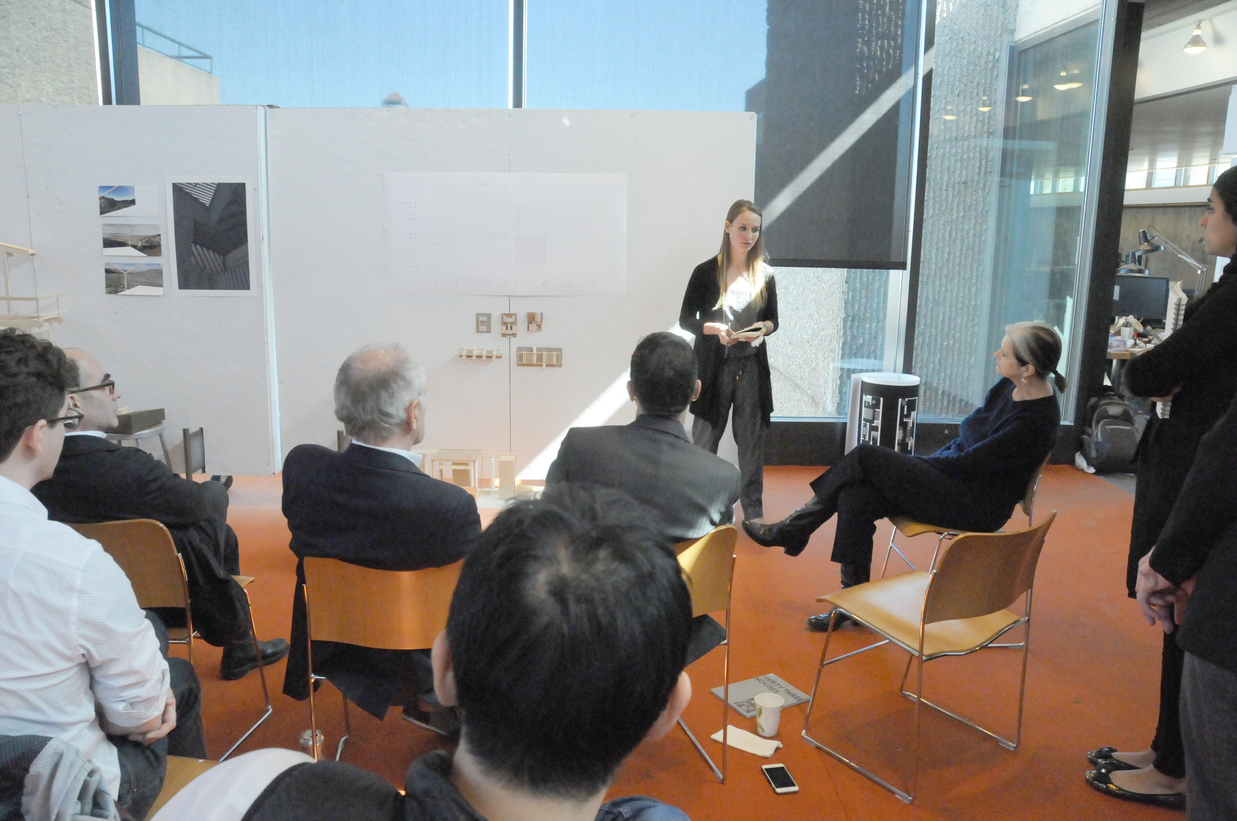 Deborah on a final review at the Yale School of Architecture
