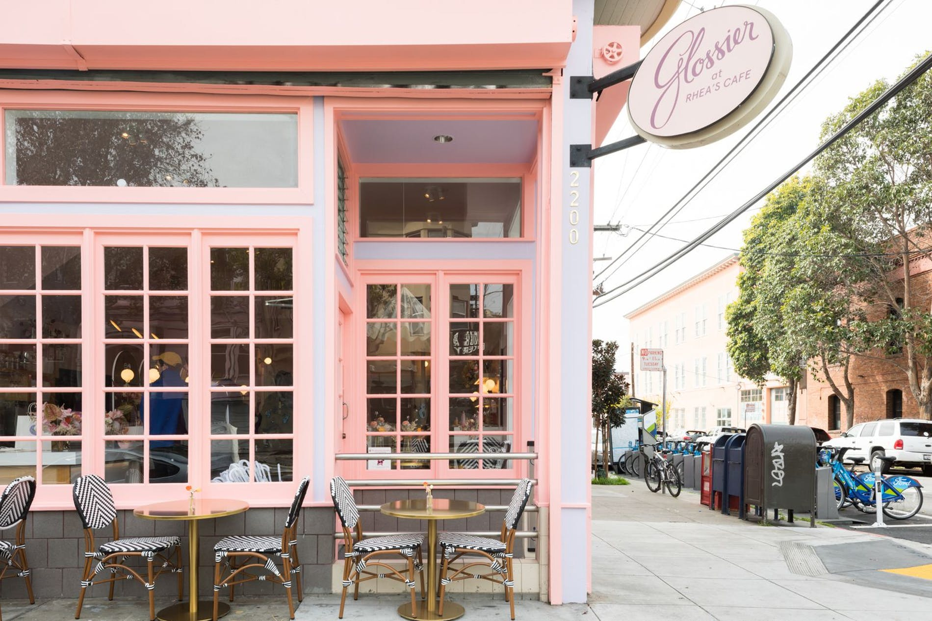 Glossier at Rhea's Cafe in San Francisco, design and photography by Glossier