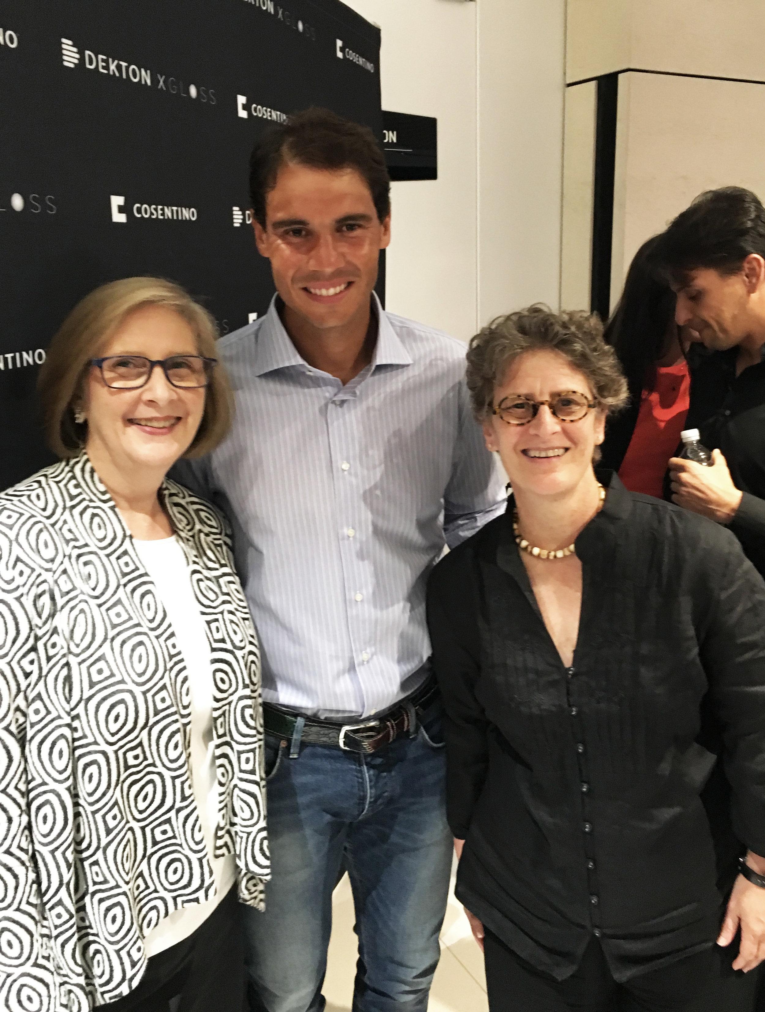 Heidi with Annie Rolland and Rafael Nadal