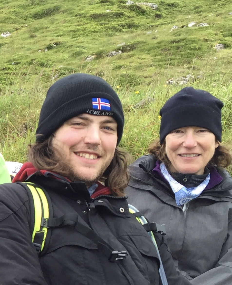 Andrea and Dax on a summer hike in Iceland, 2016.