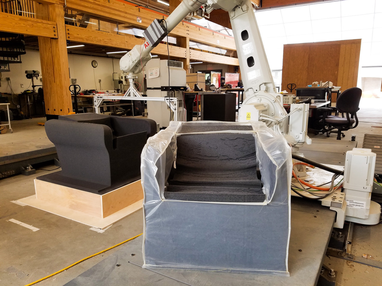 Hot Grandma chair, fabricated with robotic controlled hotwire at the Embodied computation Lab at Princeton University, exhibited at the Storefront for Art + Architecture June 21 - August 24 2018.