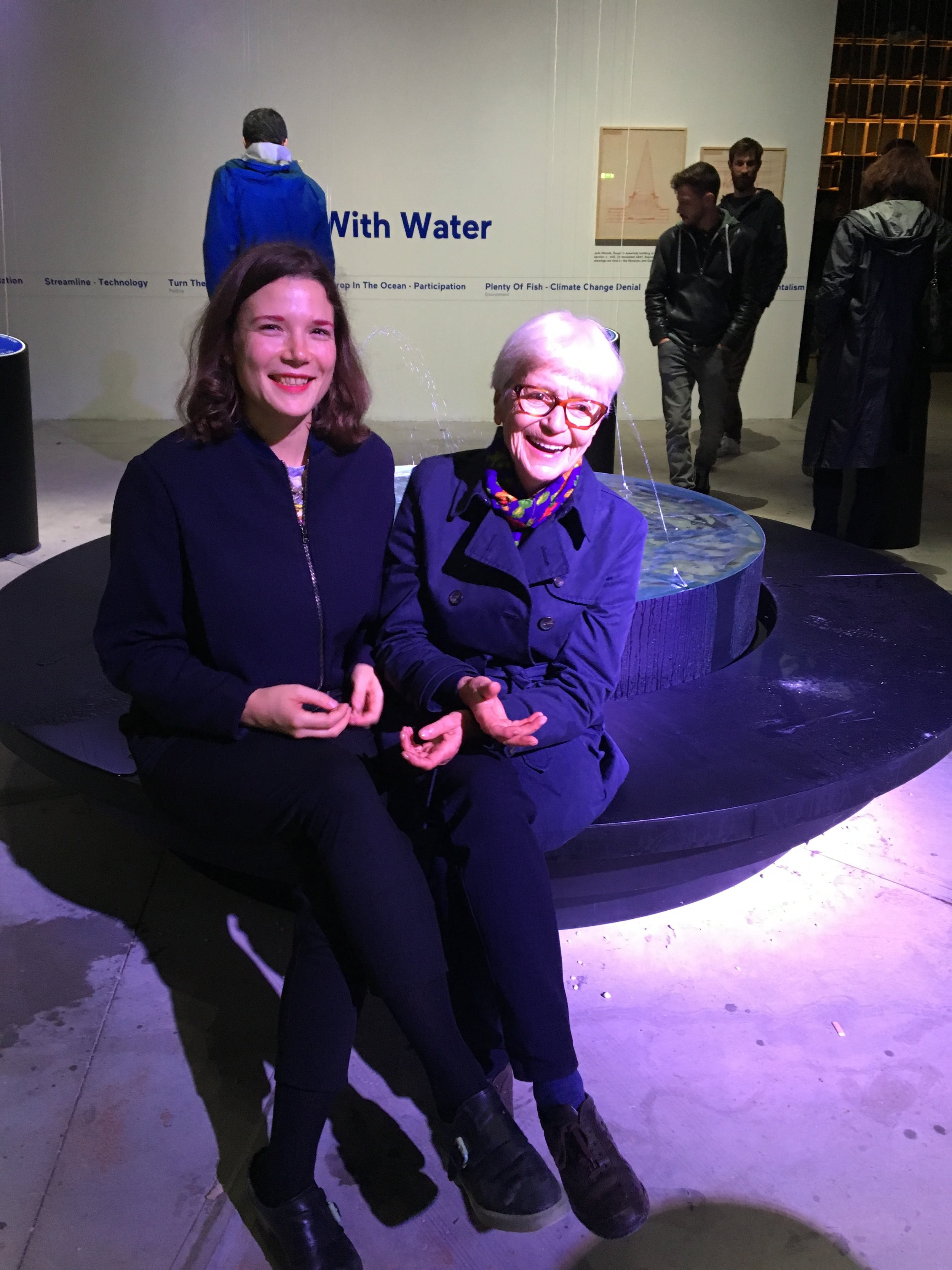 Bika with her grandmother Helena at the Slovenian pavilion at the Venice Biennale, 2018