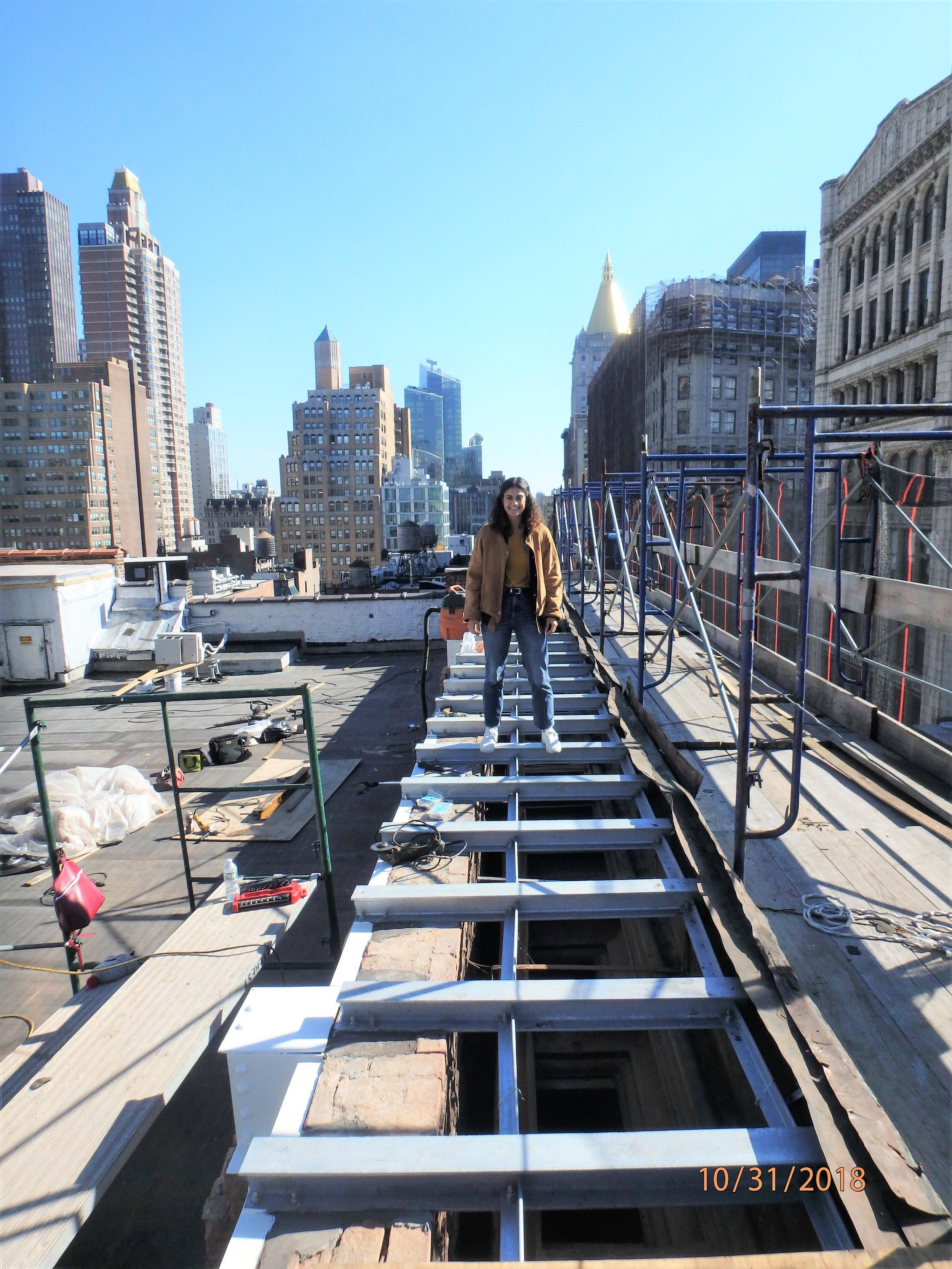 Cornice reconstruction work in midtown Manhattan, October 2018