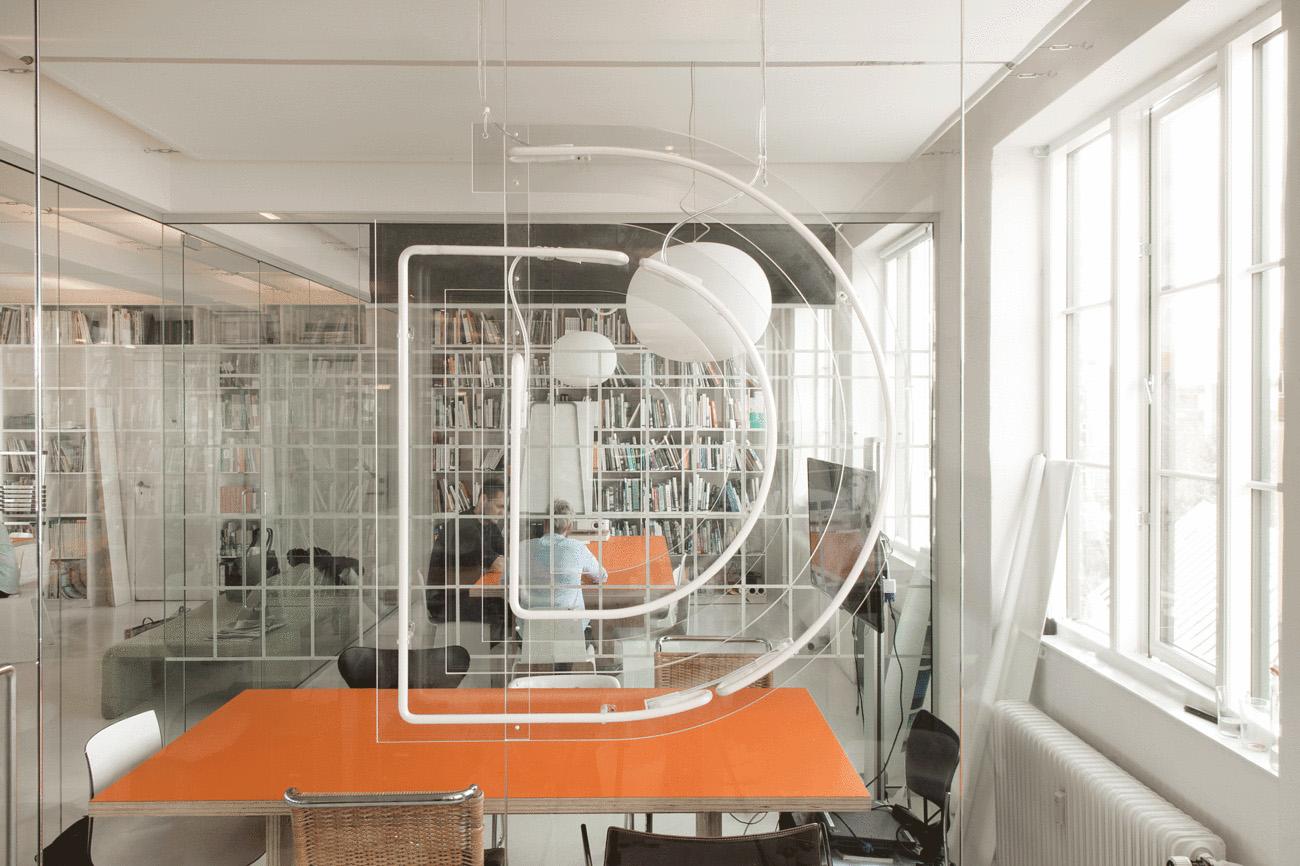 Dorte's neon logo in her office.