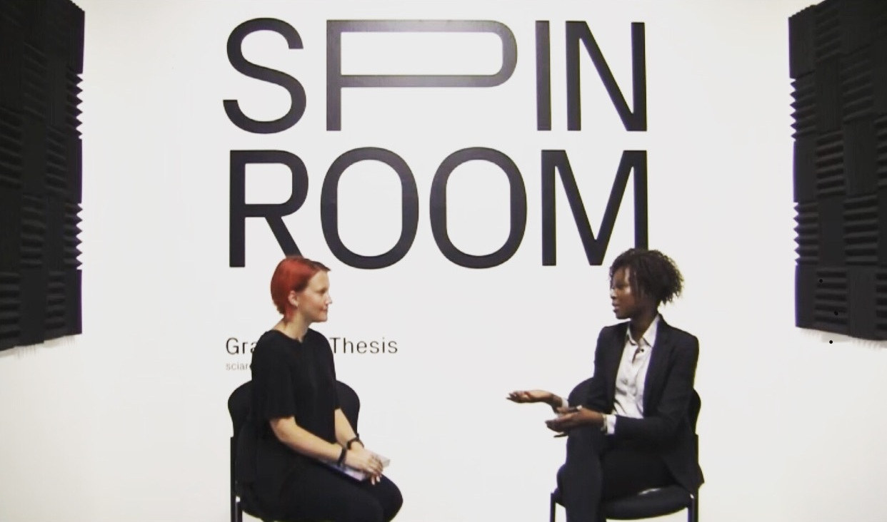 Amina at Sci-Arc's Spin Room, Interviewing senior thesis graduate Ashley Hastings
