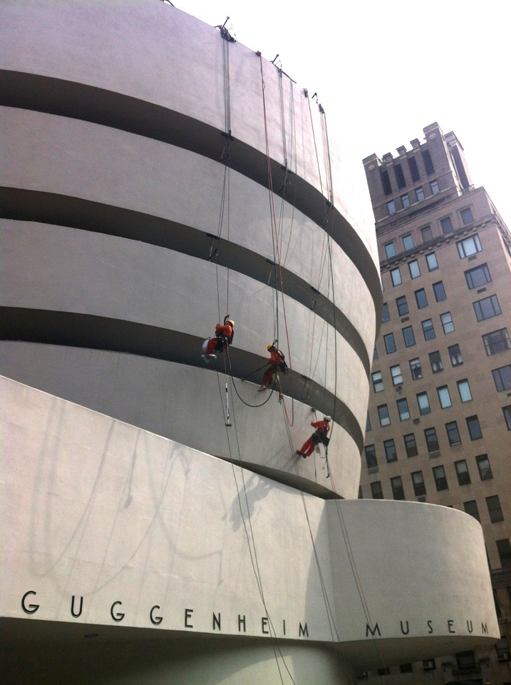 Guggenheim exterior cleaning photo: Exterior cleaning of the Guggenheim.
