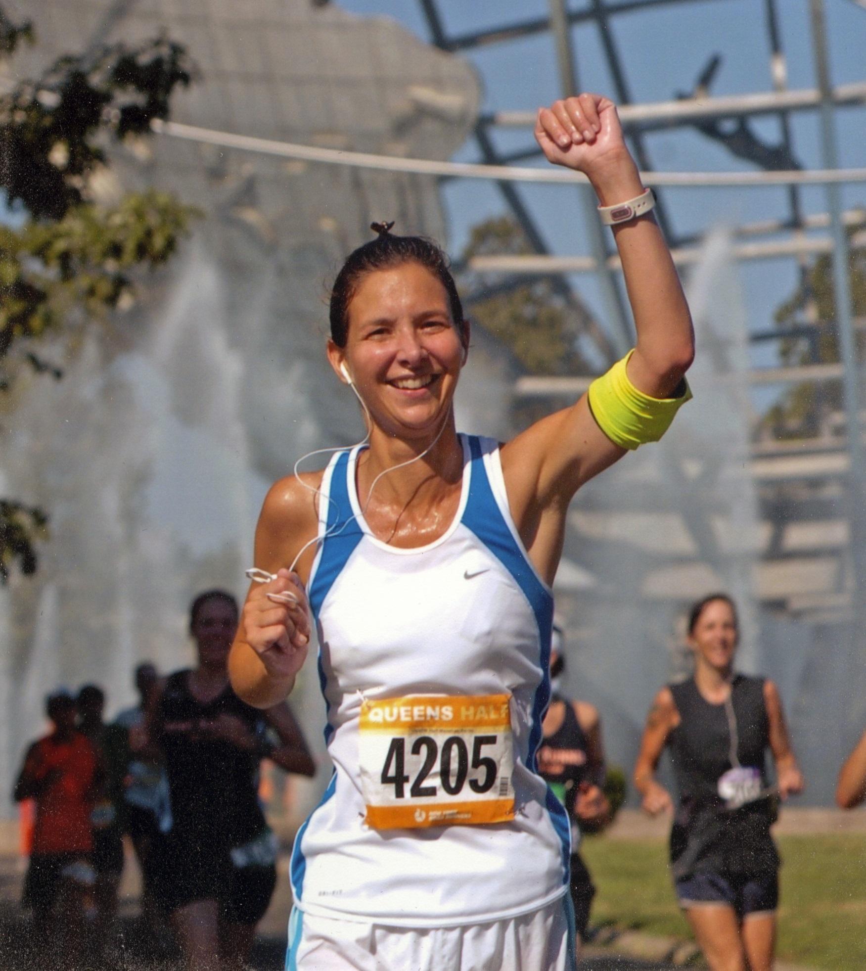 Nicole at the Queen's Half-Marathon.