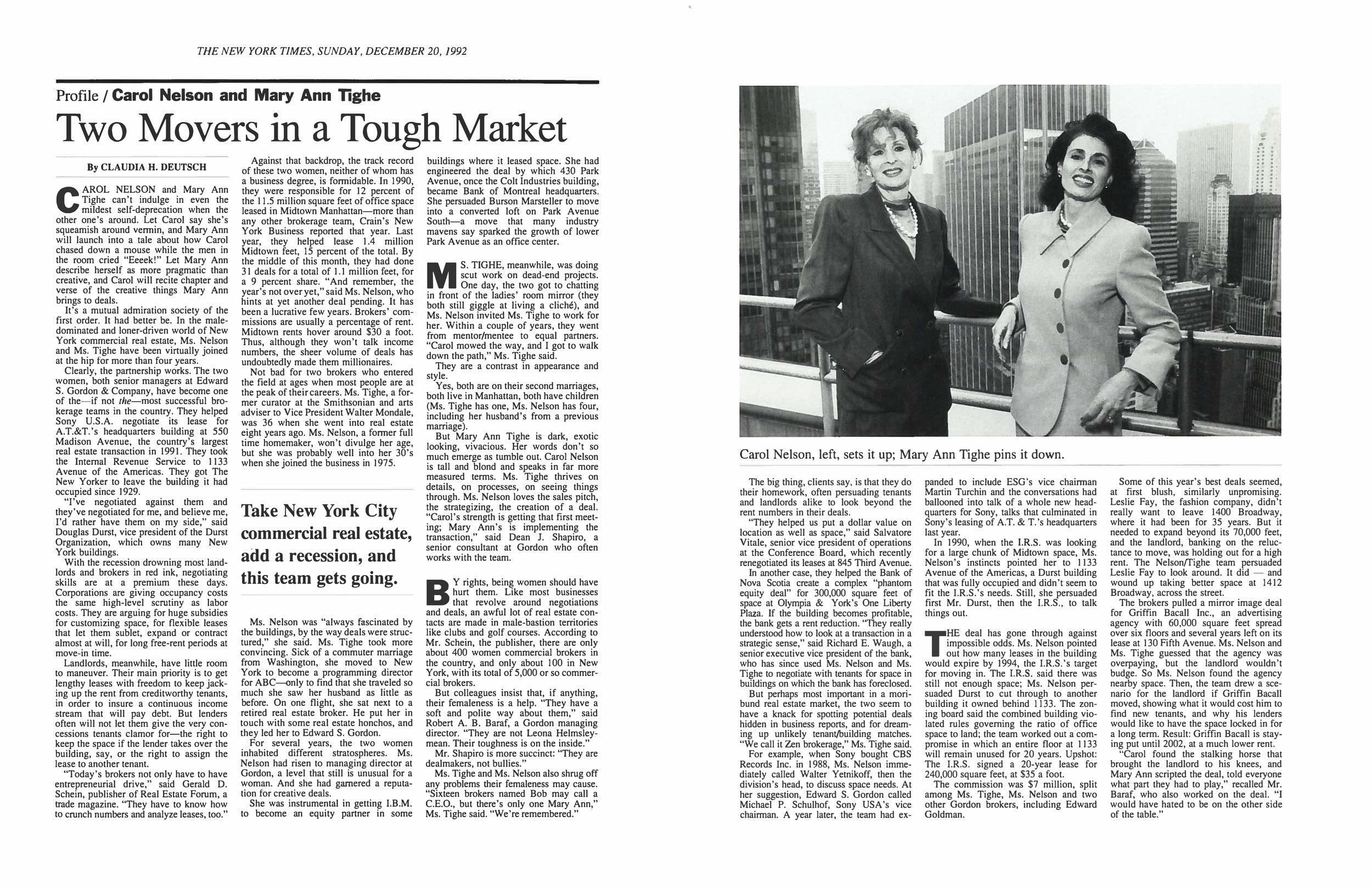 Carol Nelson and Mary Ann Tighe, 1992.