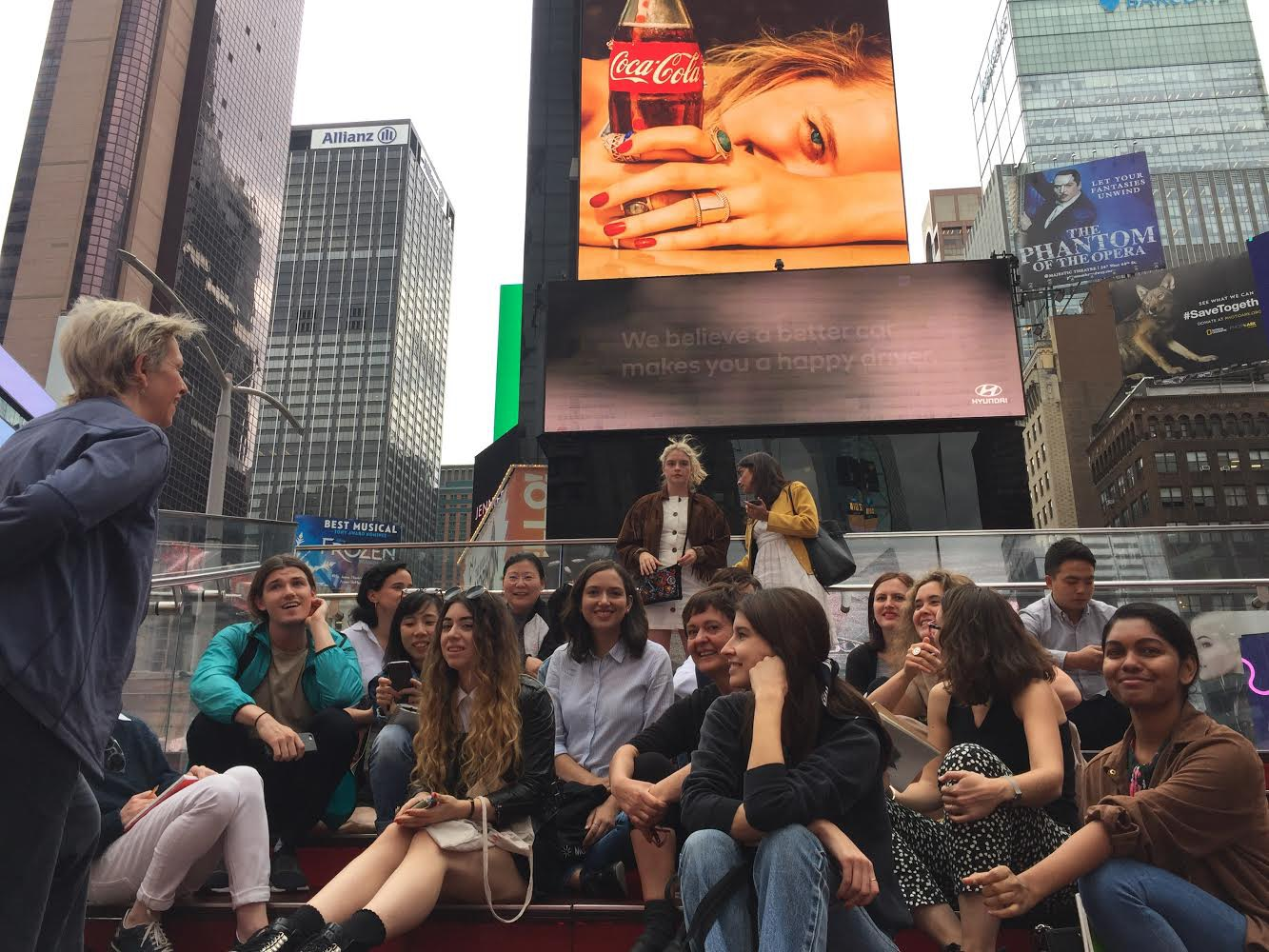 Karrie with her SVA students on the Red Steps in Times Square
