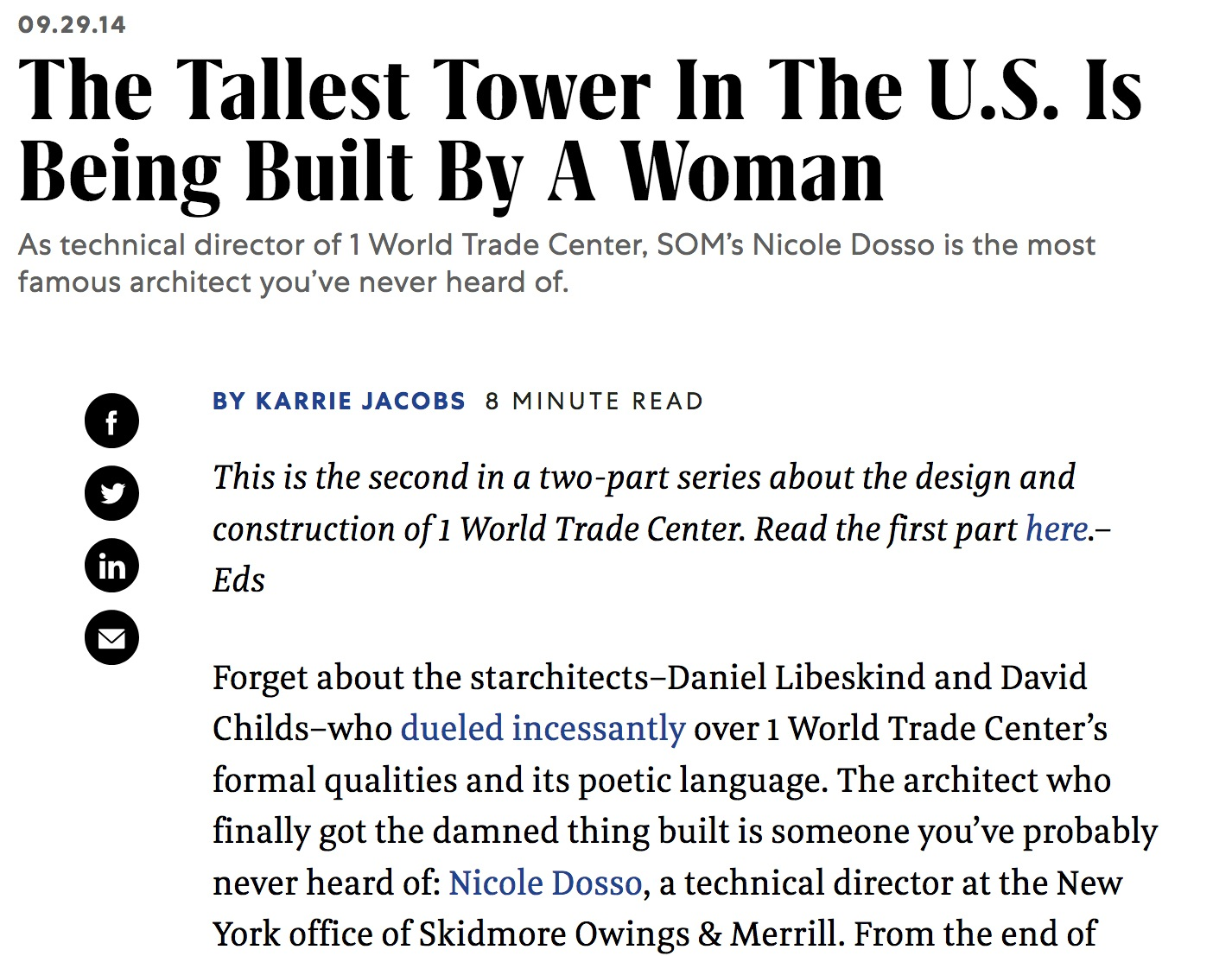 Karrie's piece on Nicole Dosso for Fast Company