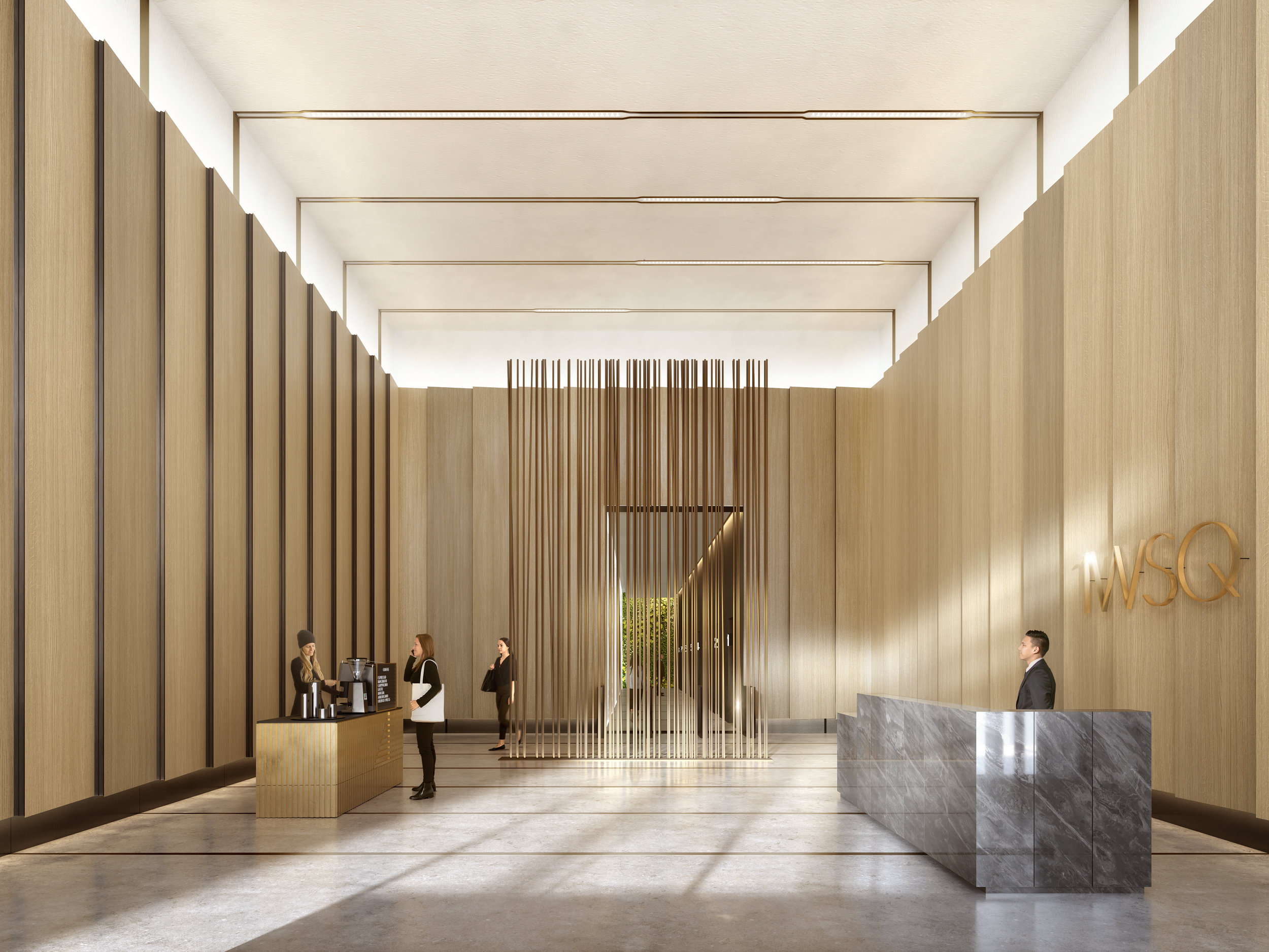 The lobby of the upcoming 1 Willoughby Square. Rendering by DBOX, courtesy of FXCollaborative.
