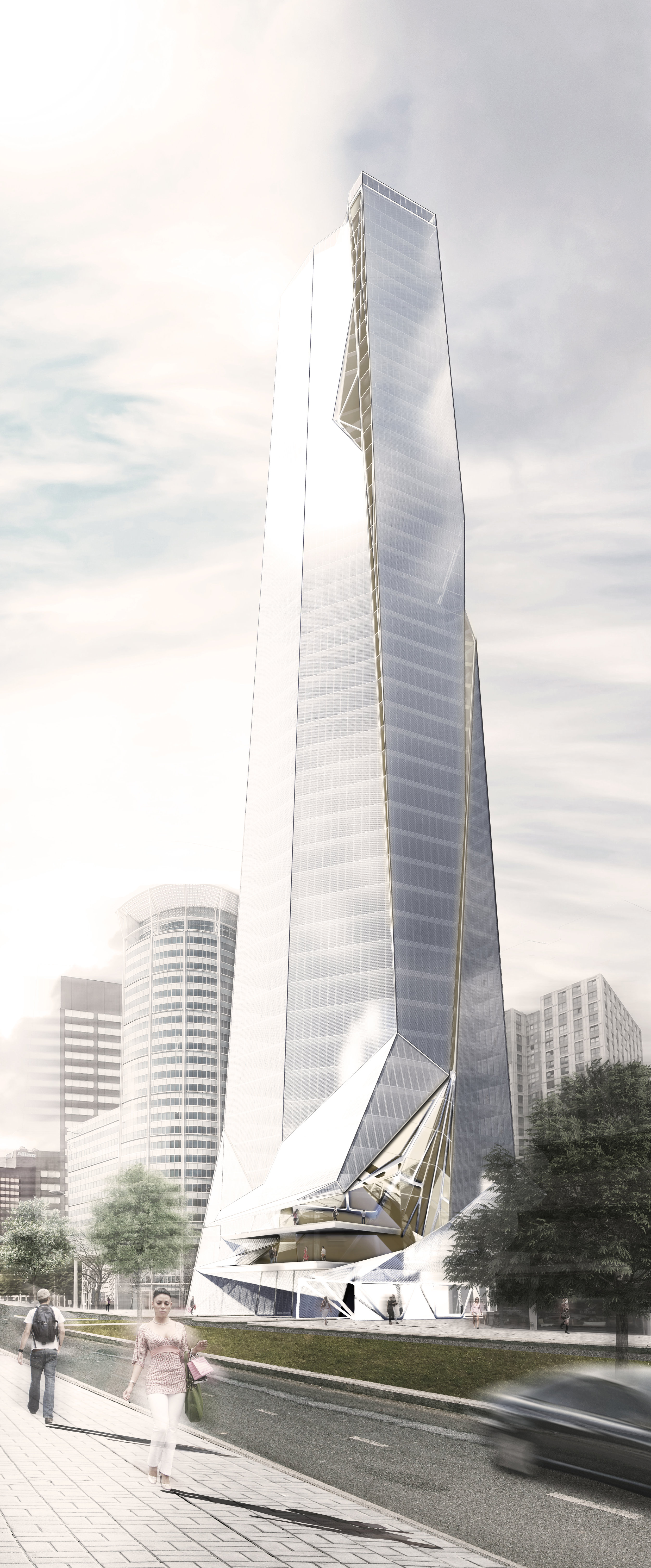 Tower in Rotterdam, rendering courtesy of Archi-Tectonics