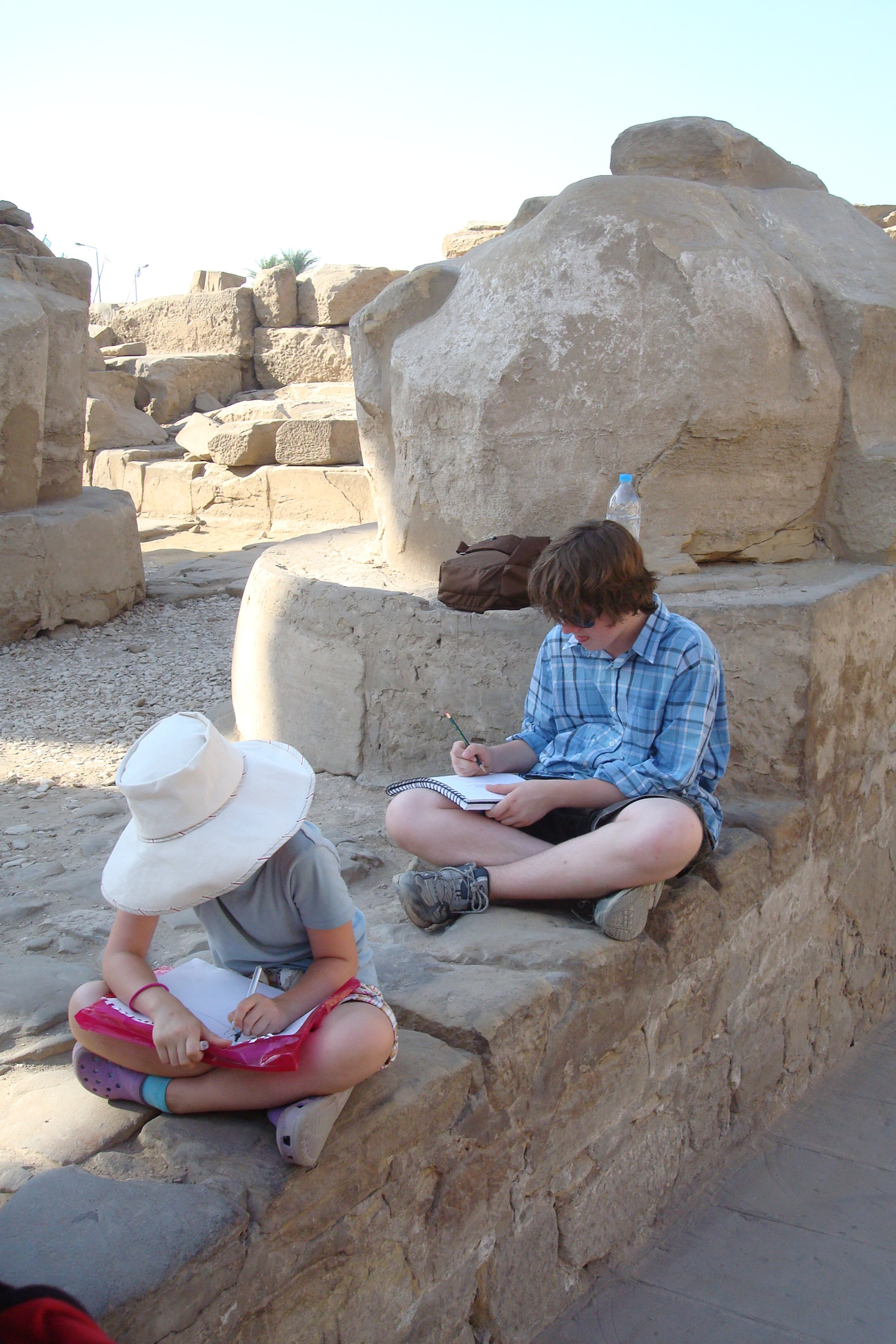 Sketching at Luxor, Egypt. Photo courtesy of Gwen Conners