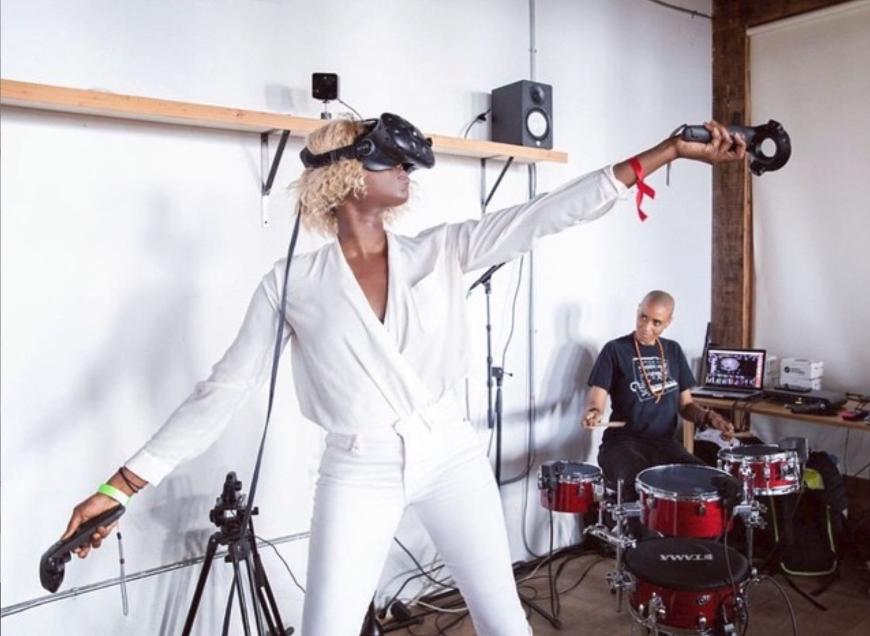 Amina performing the role of VR Conductor for open studio lab at Pioneer Works (technologist in residence Beth Coleman). Photo by Walter Wlodarczyk
