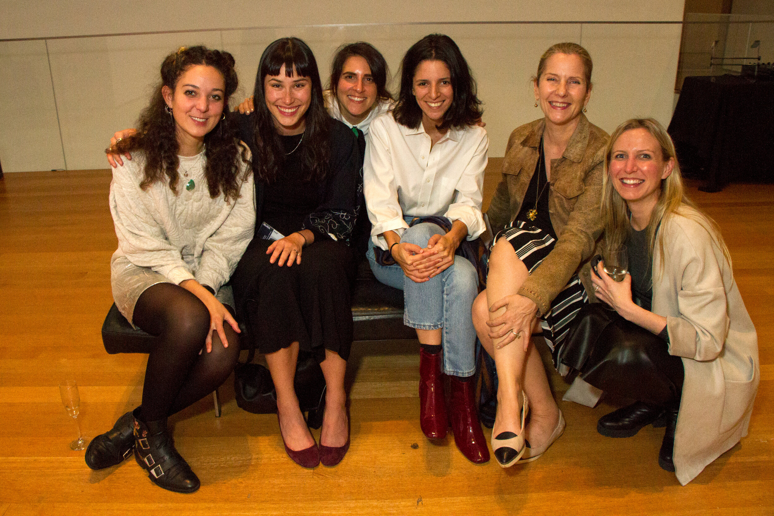 """The curatorial team at the """"Fashion Is Kale: A One-Day Event Celebrating Fashion's Hidden Heroes"""" on October 19, 2017, at The Museum of Modern Art, New York. Left to right, Erica Petrillo, Kristina Parsons, Stephanie Kramer, Anna Burkhardt, Paola Antonelli, Michelle Millar Fisher. Photo: Manuel Martagon."""
