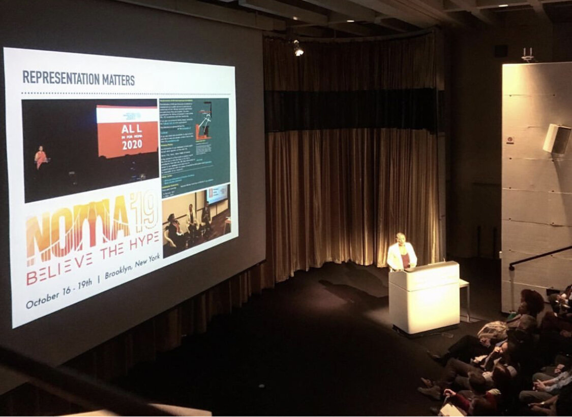 "Kimberly presenting ""ALL in for NOMA"" at the Harvard GSAPP. Image courtesy of Kimberly Dowdell."