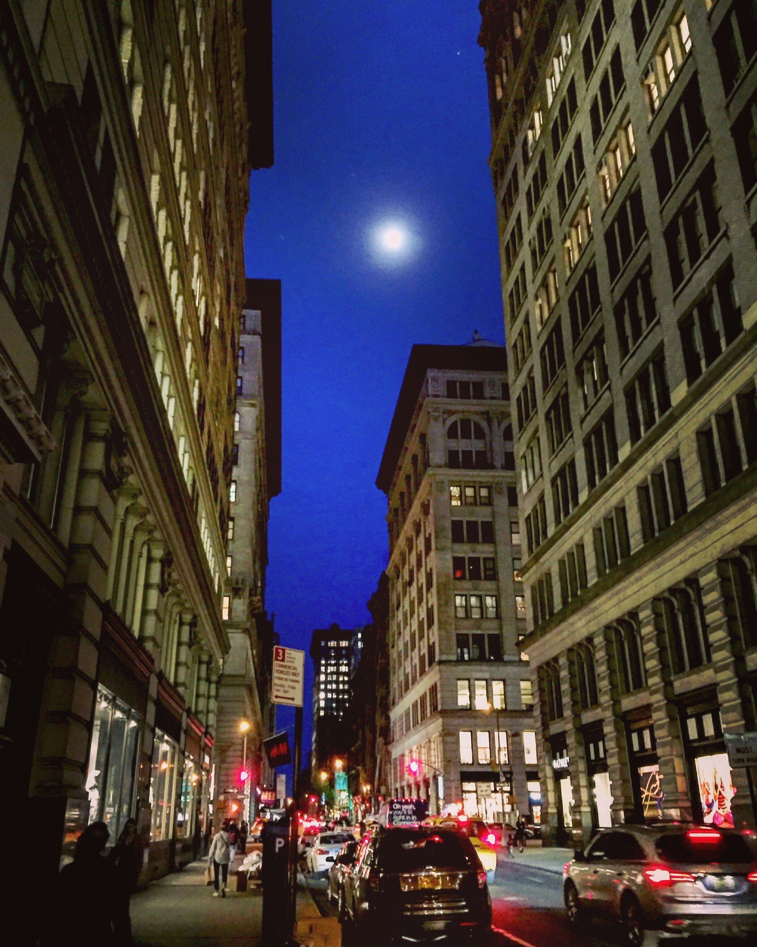 Nighttime commute through the Flatiron District.