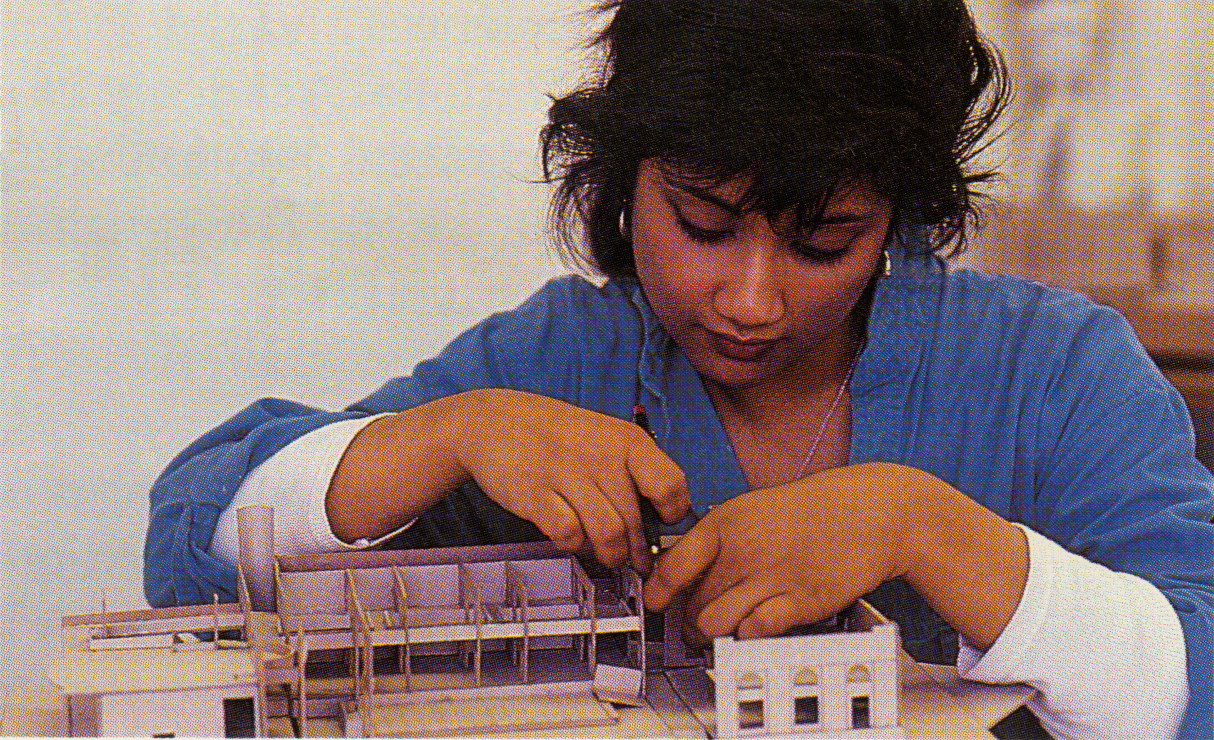 Model-building in the Rand Hall Studio, during Bina's freshman year at Cornell.