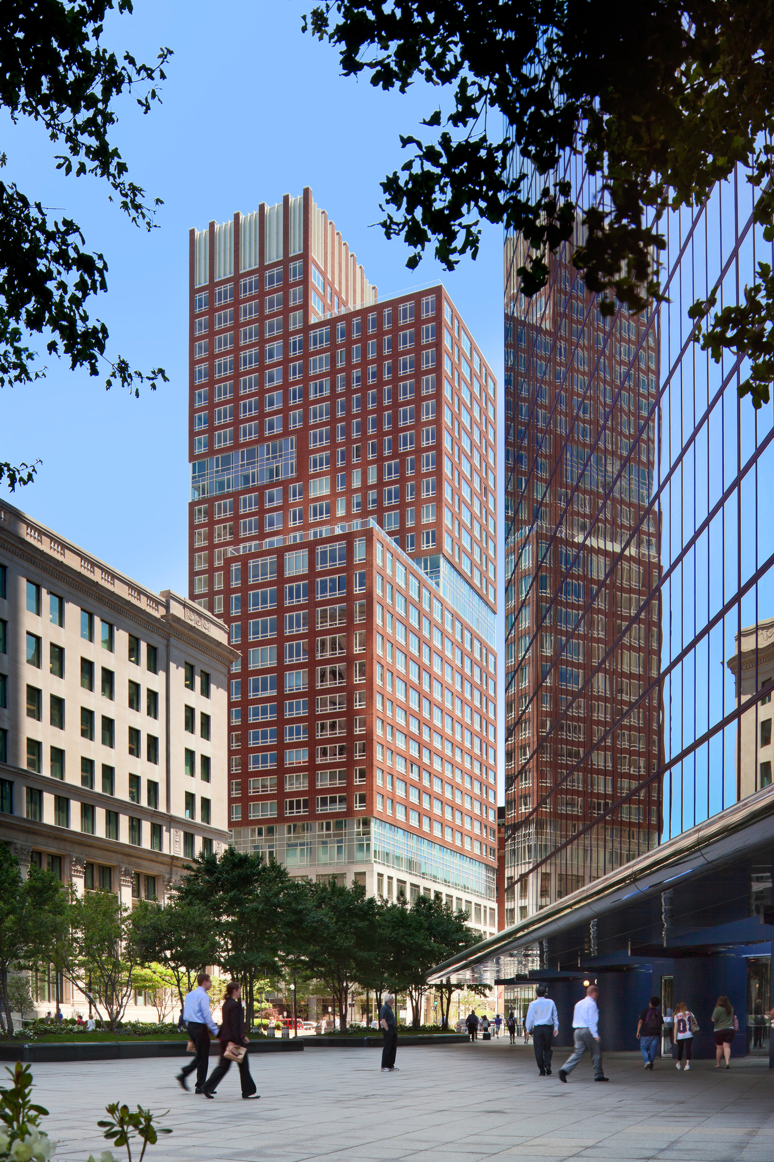 Bina's early luxury high-rise residential experience at RAMSA as Project Architect for the Clarendon in Boston.