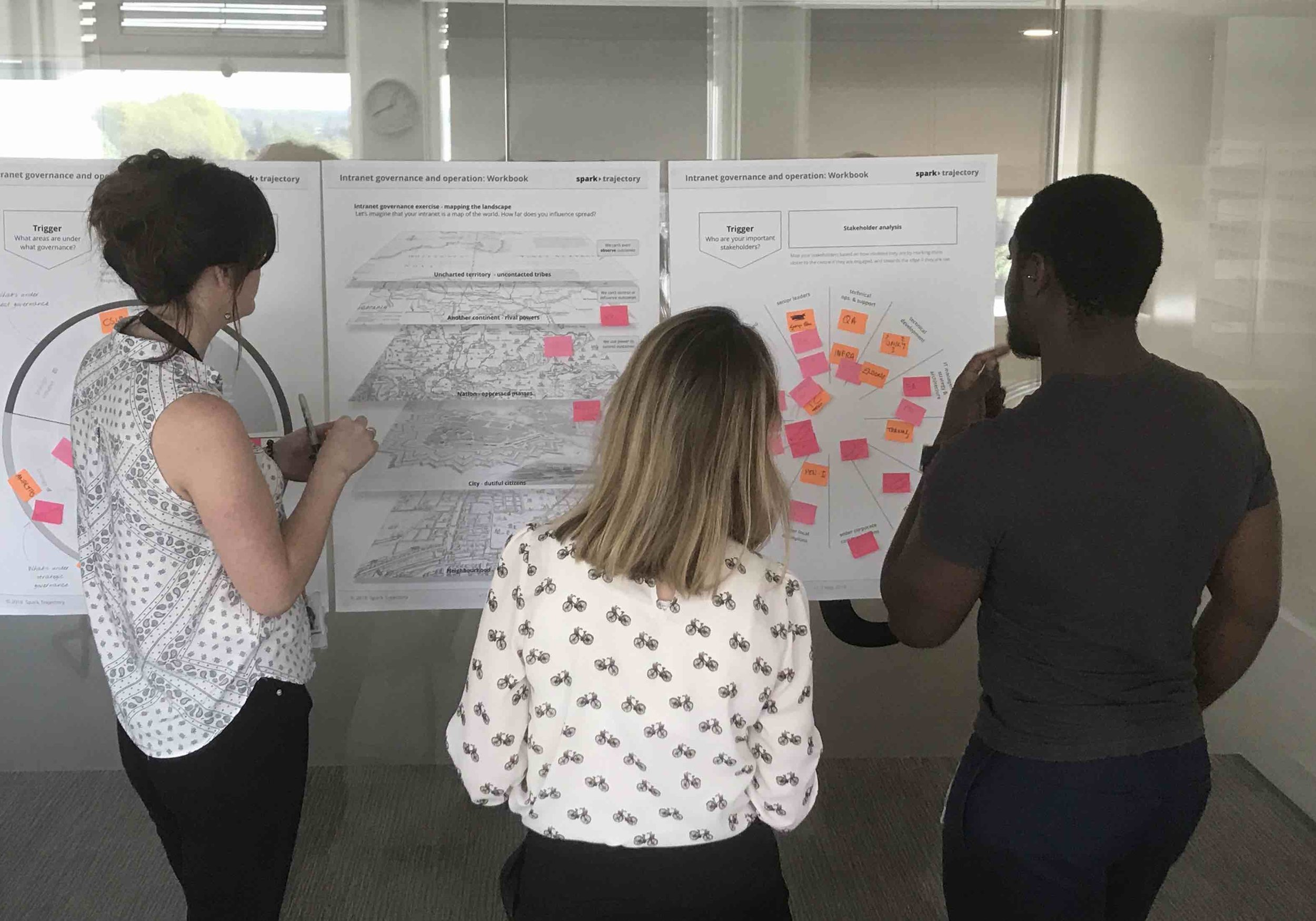 Teams work together on intranet management techniques by working on their real-world intranet challenges