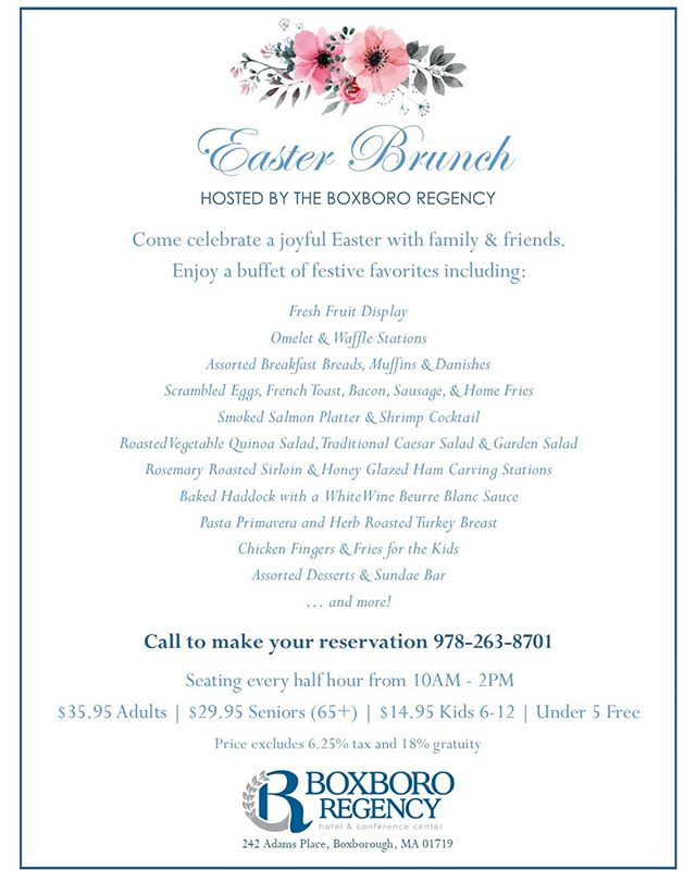 Please join us for Easter this year. Call to make your reservations today! #easter #easterbrunch2019 #boxboroughma #family #food #fun #easterbunny #eastereggs #hotel #buffet