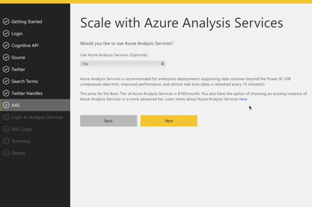 8/9/10) Scale with AAS   This is an optional service.   Azure Analysis Services does what you know it to do - scales well with larger deployments.  With the standard solution templates, data volume is the main benefit. If you were adventurous enough to customize the solution template then you could also get creative with modelling the data in Azure Analysis Services too, to take the load off Power BI and centralize your organization wide data modelling.