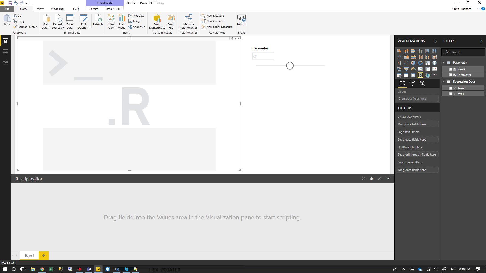 5) Create an R Visual