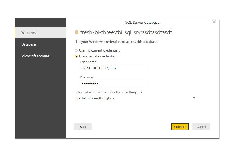 3) SQL Server often requires credentials: