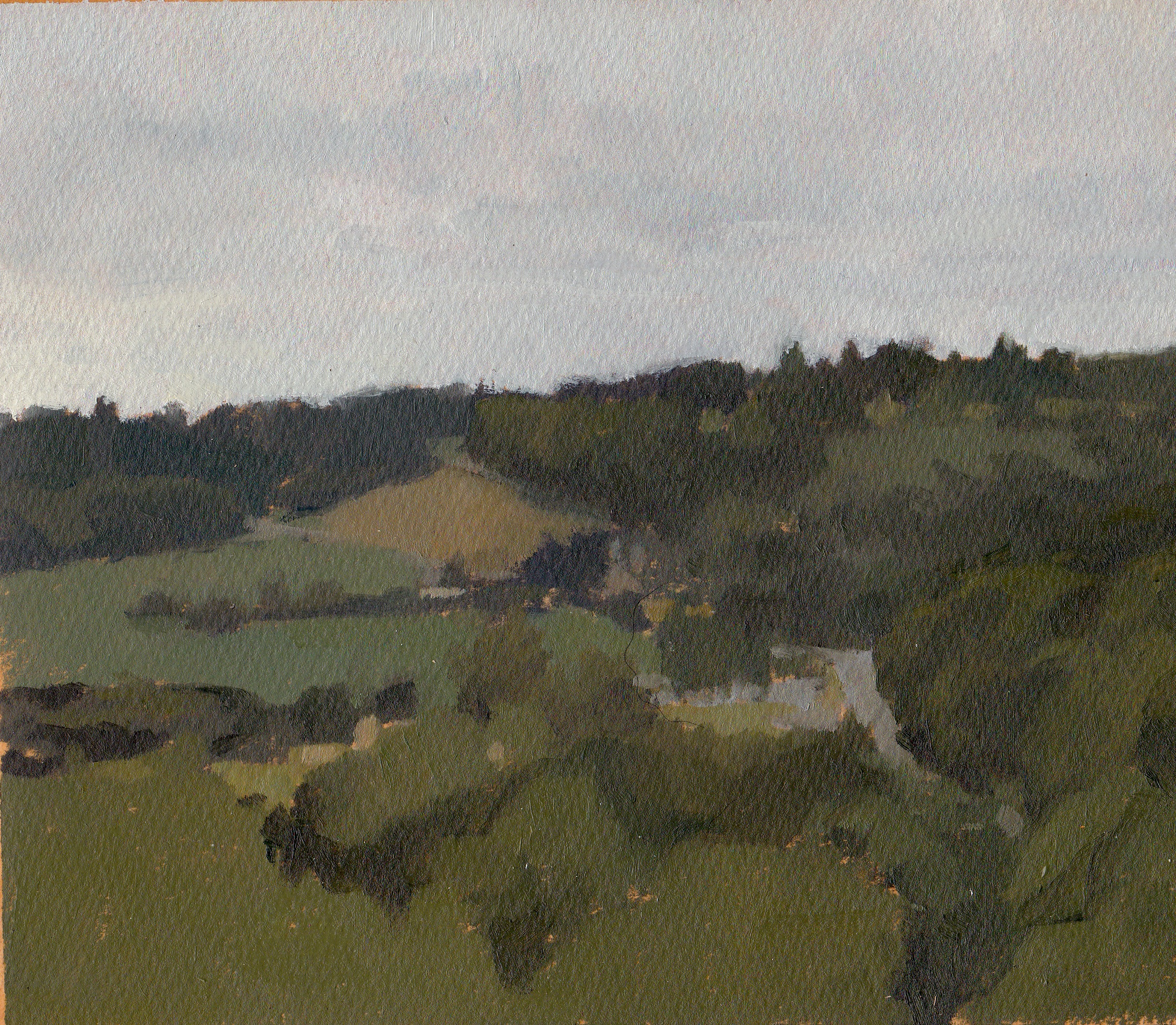 View from the Chateau Lehon, Grey Day, Oil on Paper, 7%22x8%22.jpg