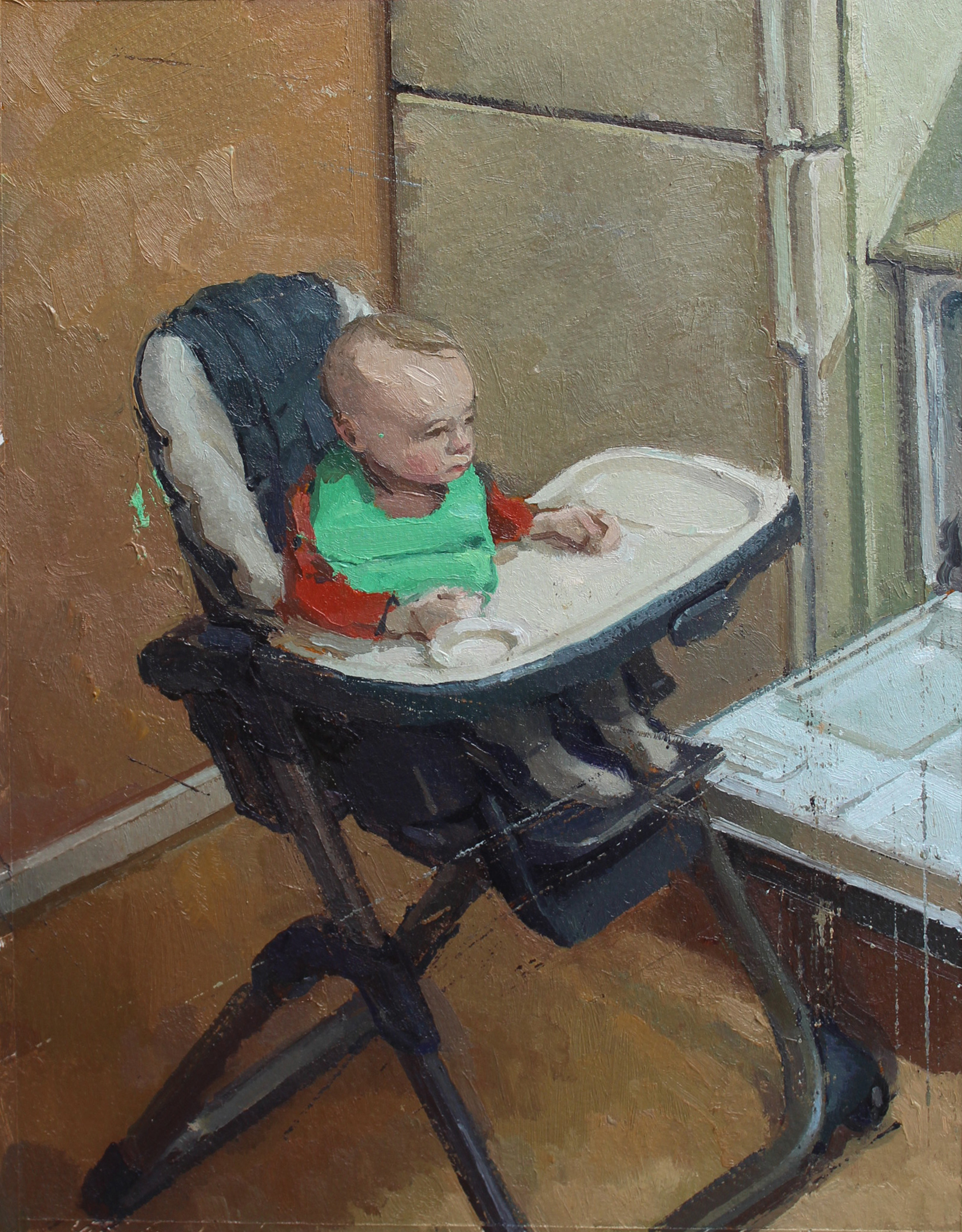 Child with a Green Bib, Oil on paper on panel, 10.5%22x8%22.jpg