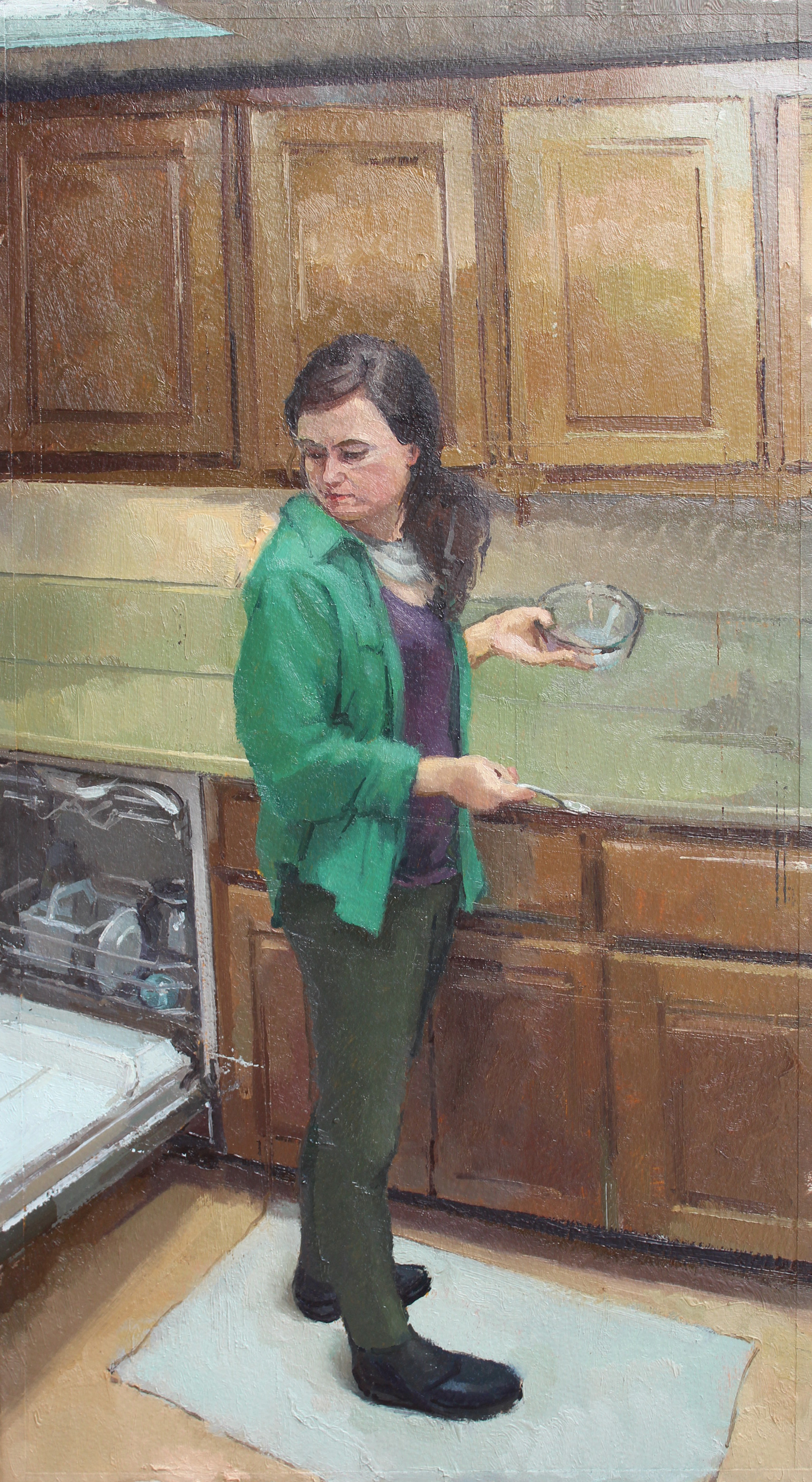 Woman with a Mixing Bowl, Oil on paper on panel, 15.5%22x8.5%22.jpg