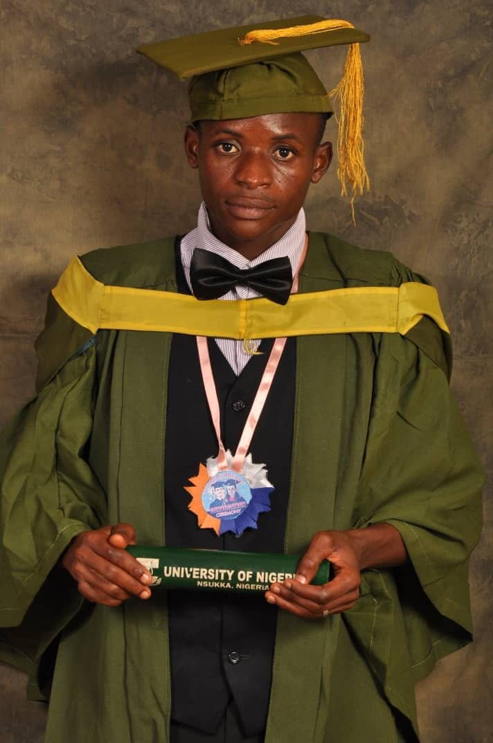Graduation picture. His GPA put him in the top two of all graduating students in the University of Nigeria, Nsukka for the 2017/2018 academic session. He was the best student in both the Department of Mathematics and the Faculty of Physical Sciences.