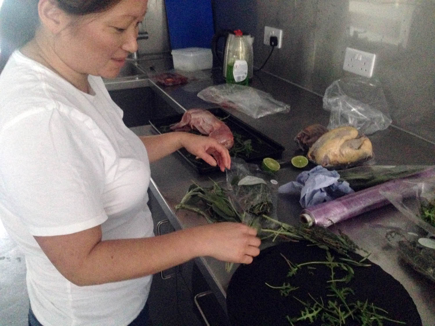 Petra's brought masses of rocket and fresh herbs to dress up the game.
