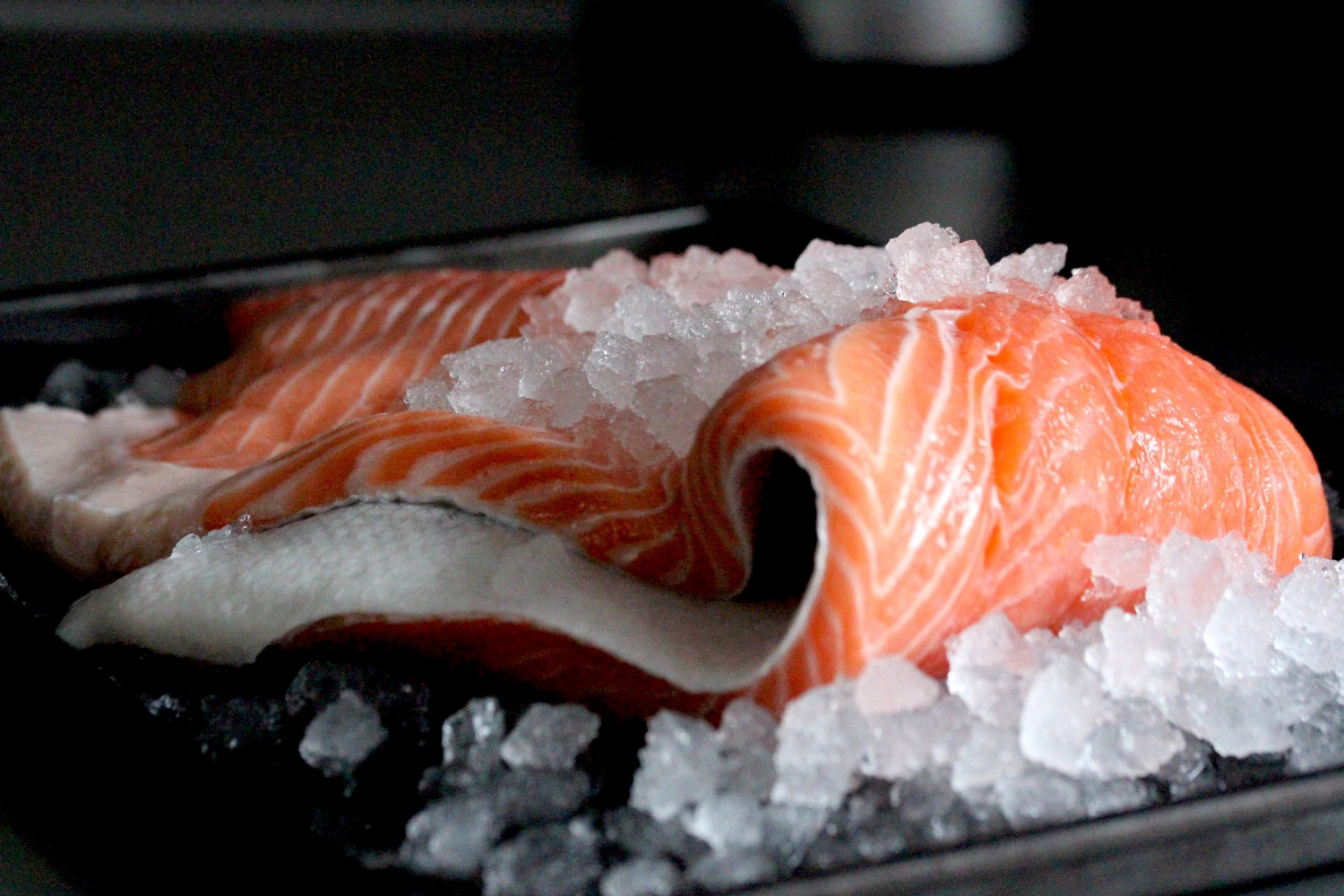 Fresh salmon whole and fillets